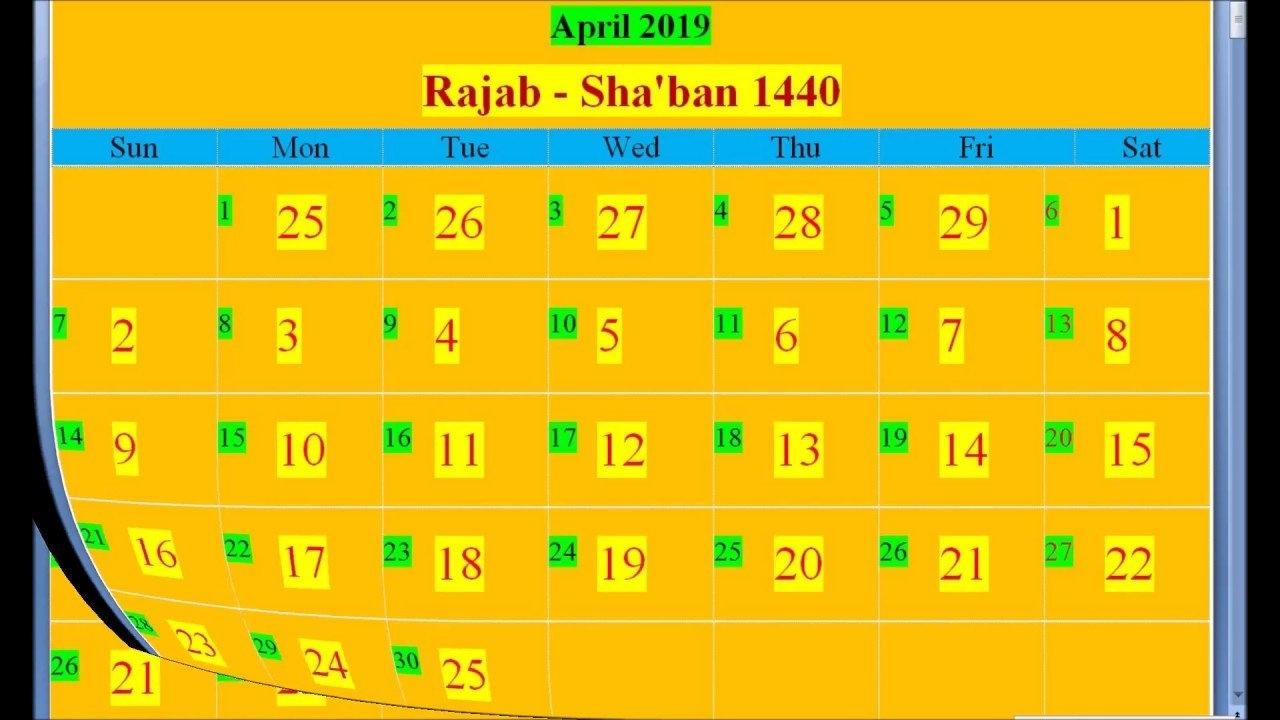 Islamic Hijri Calendar 2019 Based On Saudi Arabia – Youtube Calendar 2019 Ka Hindi Mein