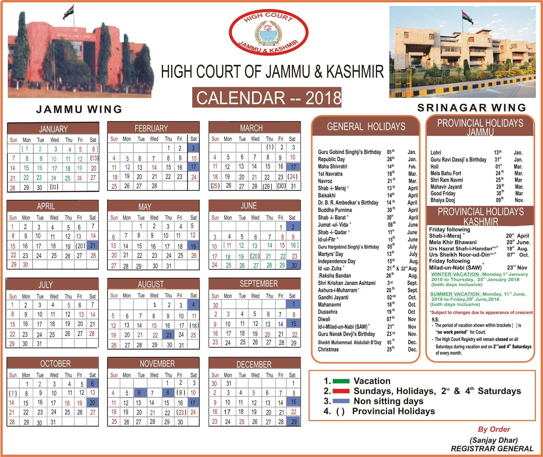 Jammu & Kashmir High Court J 2019 Calendar
