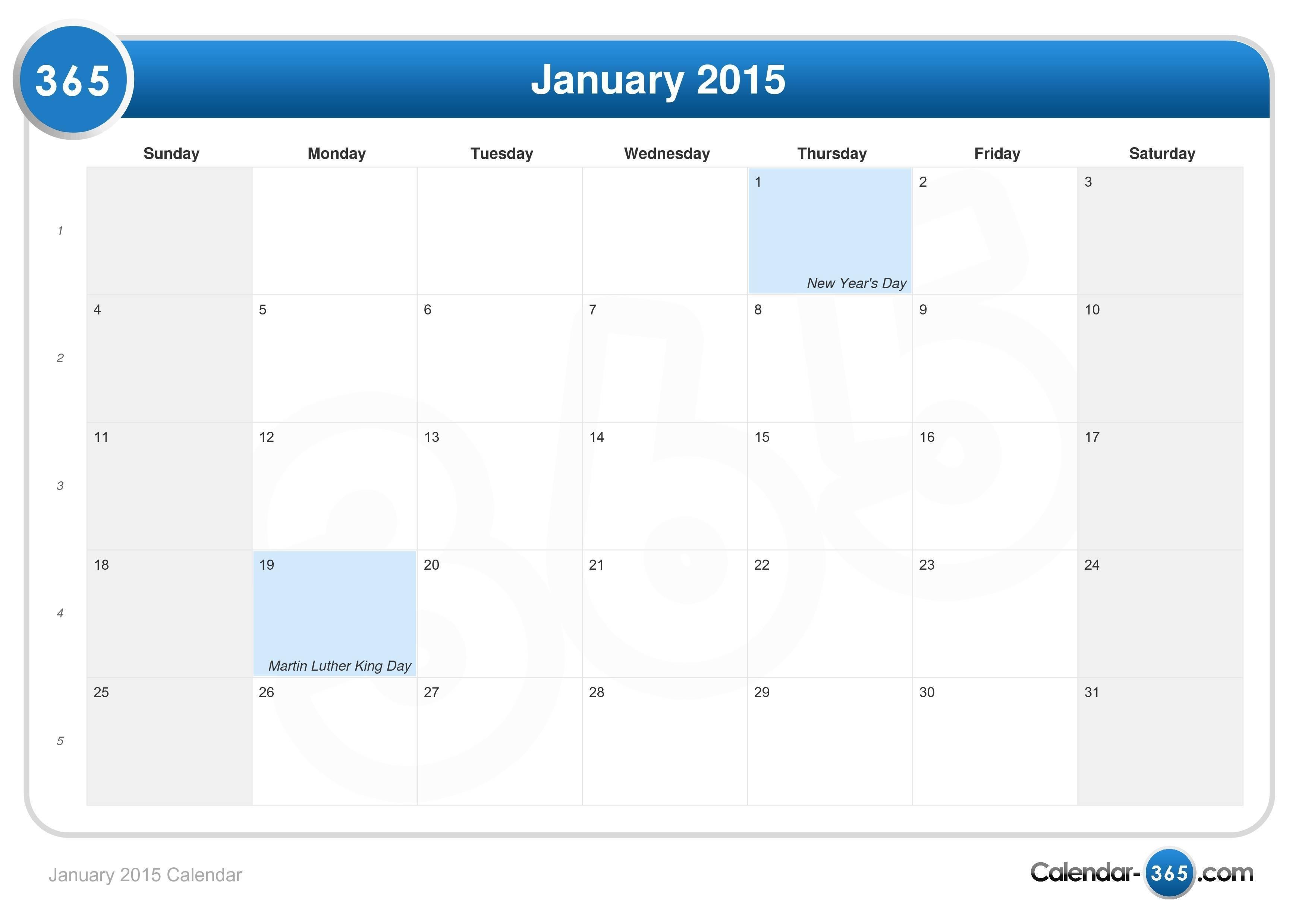 January 2015 Calendar January 5 2019 Calendar