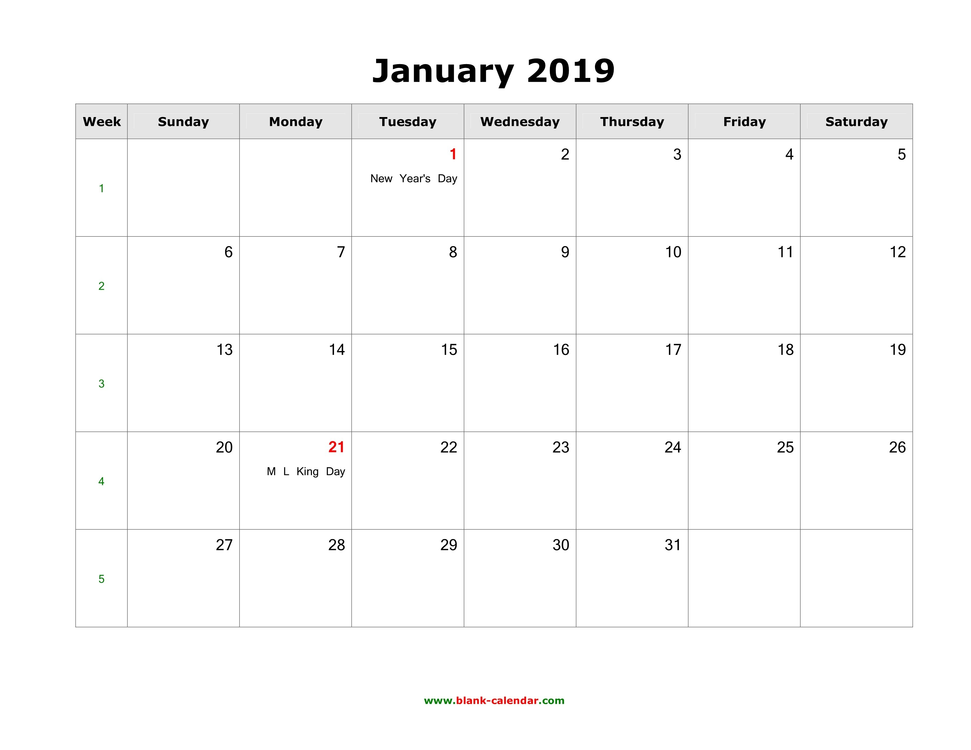 January 2019 Blank Calendar | Free Download Calendar Templates Calendar 2019 Jan