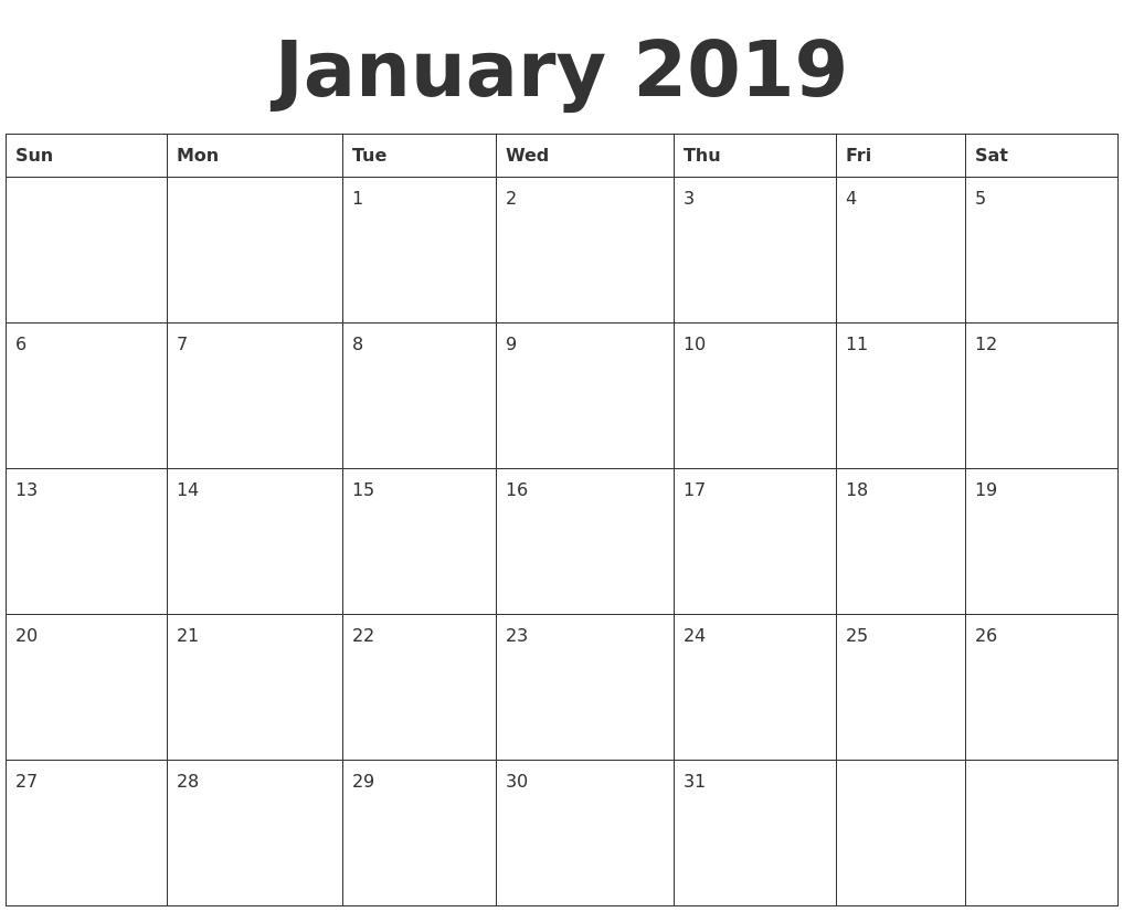 January 2019 Blank Calendar Template Printable Calendar 2019 Calendar 2019 Calendarlabs