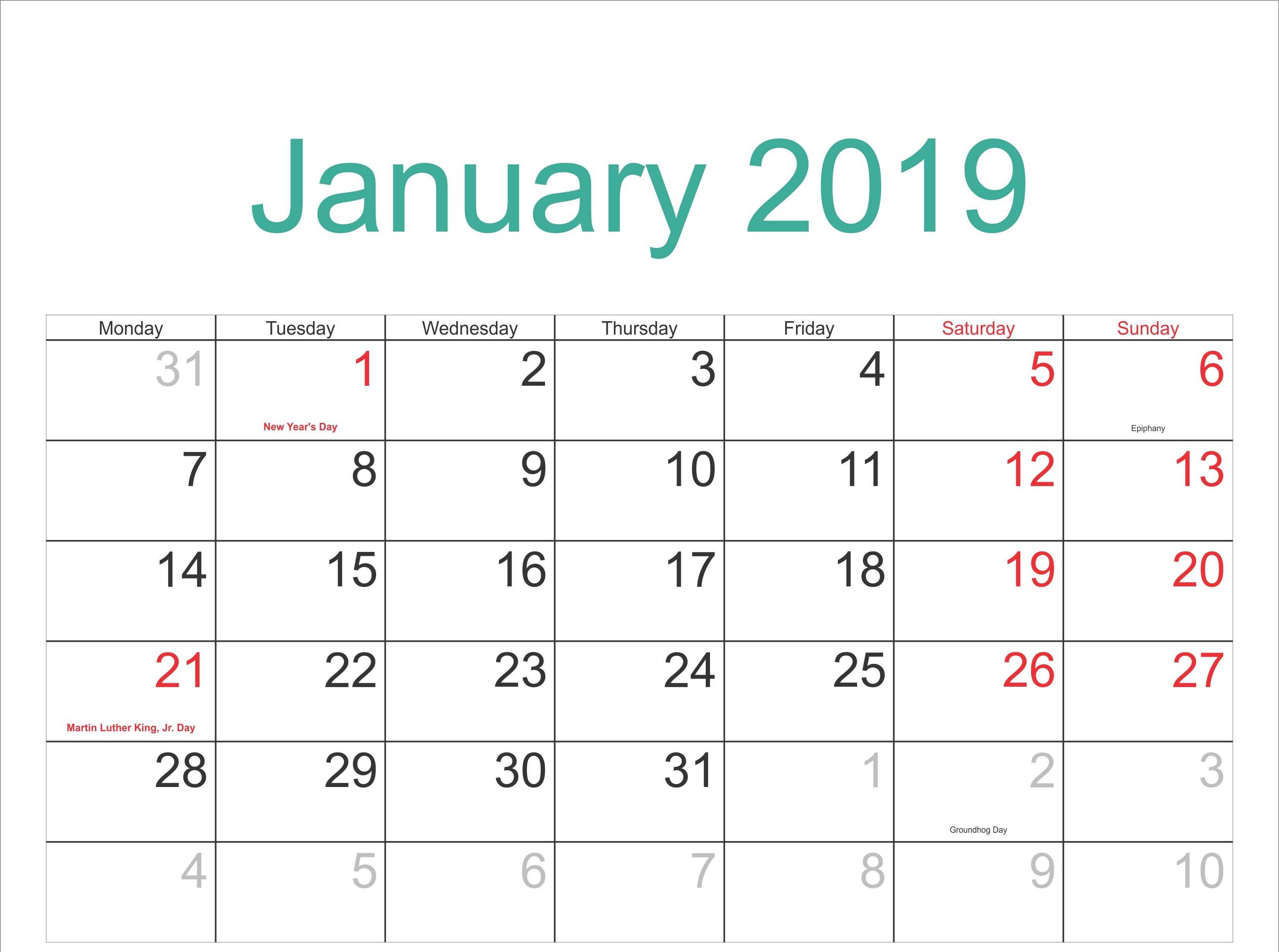 January 2019 Calendar Festivals Pdf – Free January 2019 Calendar Calendar Of 2019 With Festivals
