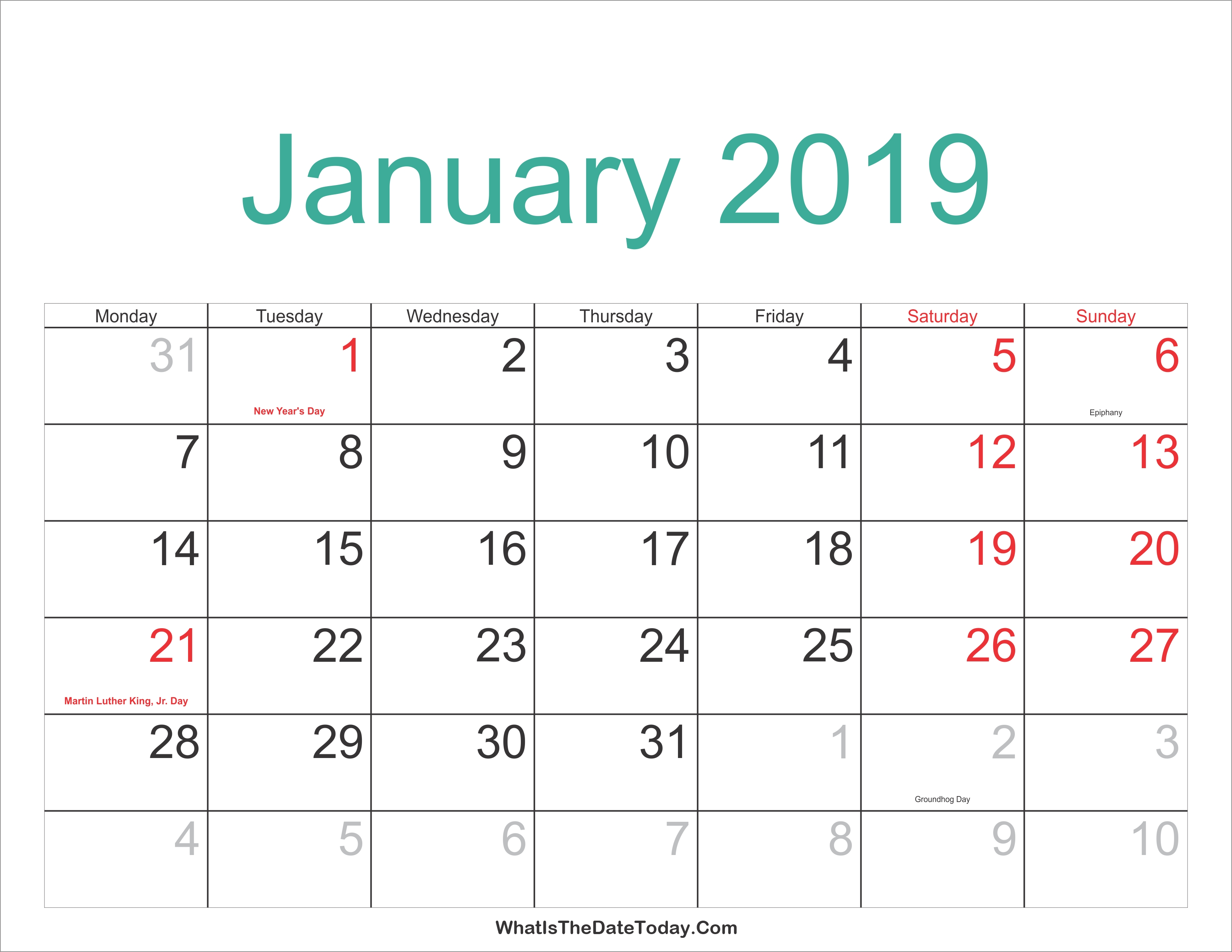 January 2019 Calendar Holidays January 5 2019 Calendar