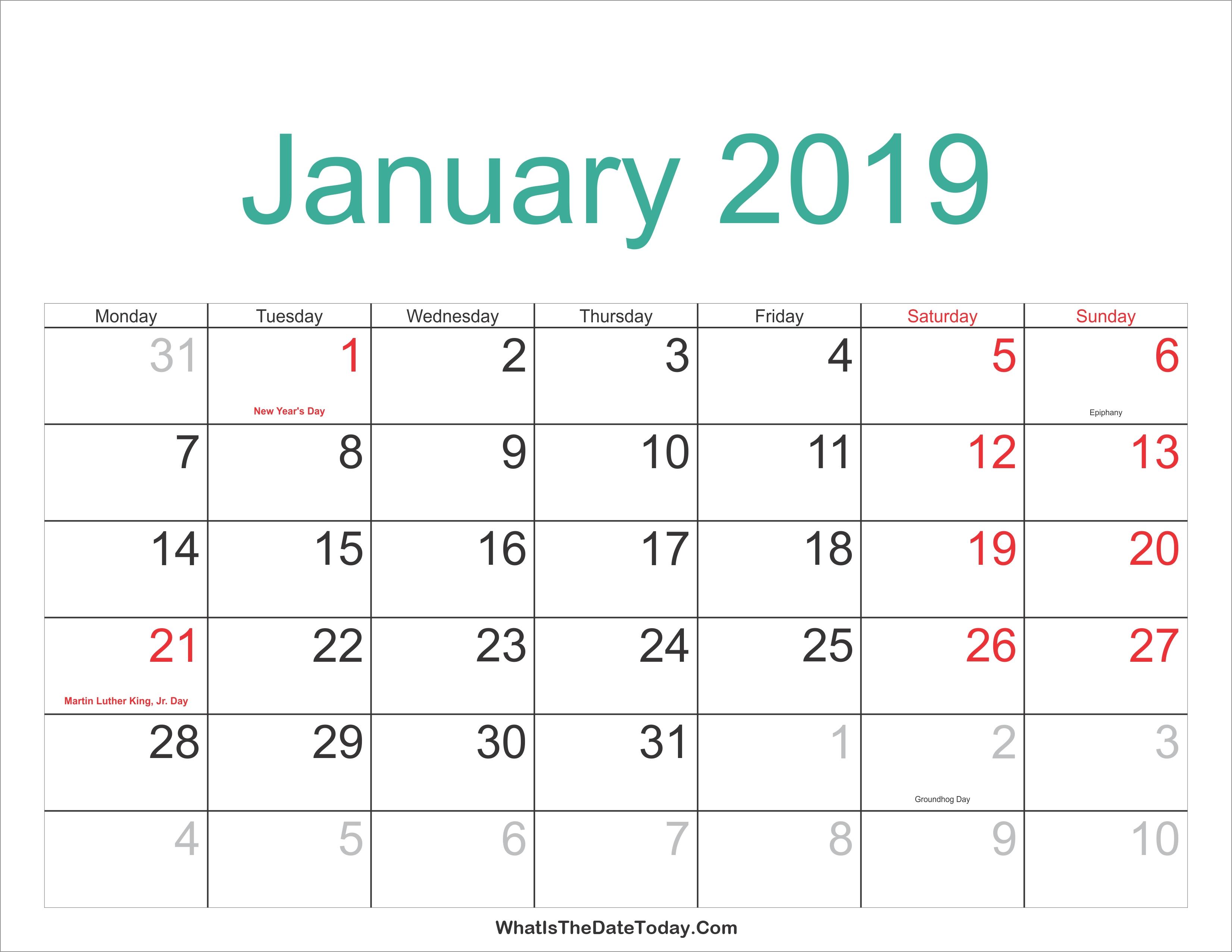 January 2019 Calendar Holidays January 9 2019 Calendar