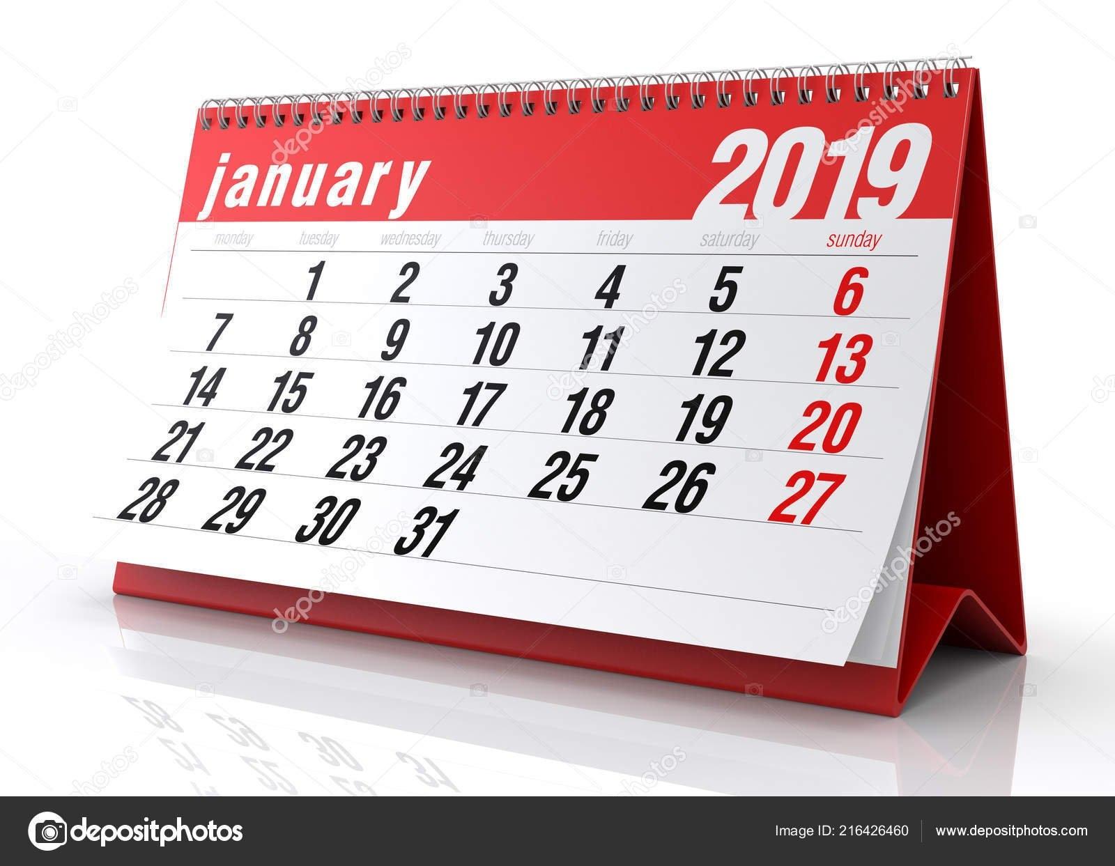 January 2019 Calendar Isolated White Background Illustration — Stock Calendar 2019 3D