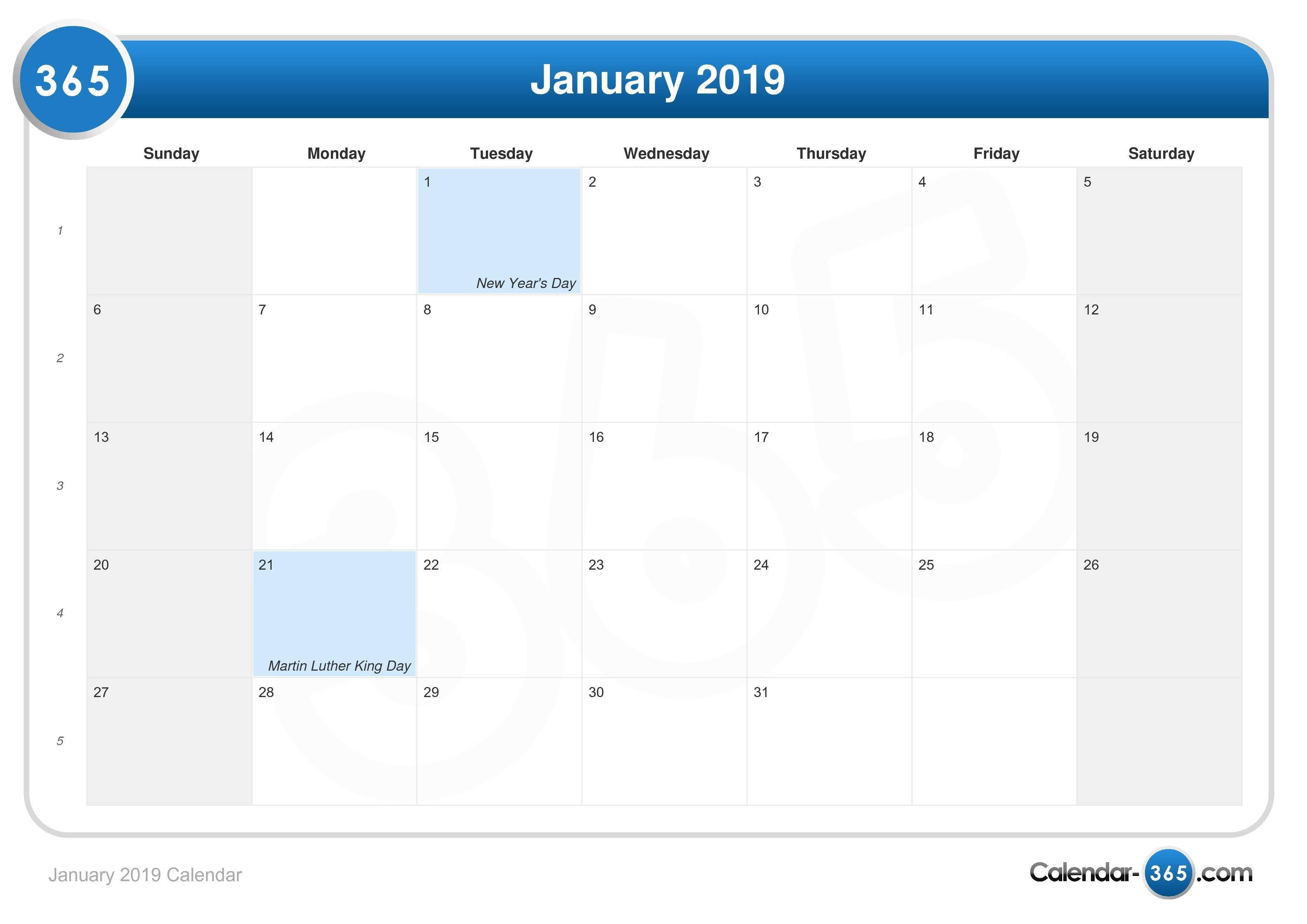 January 2019 Calendar Jan 4 2019 Calendar