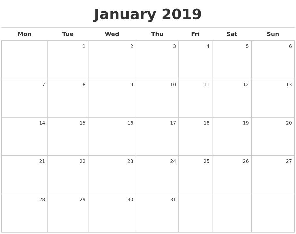 January 2019 Calendar Maker Calendar 2019 Maker