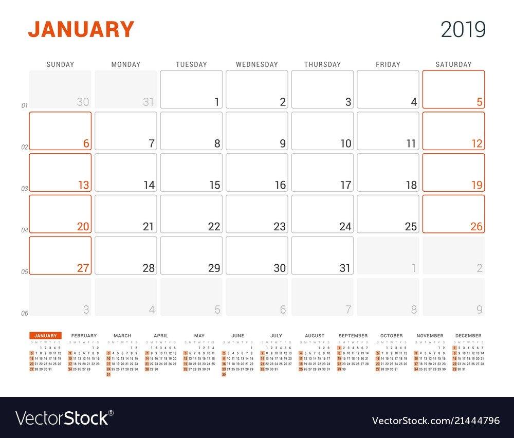 January 2019 Calendar Planner For 2019 Year Vector Image January 5 2019 Calendar