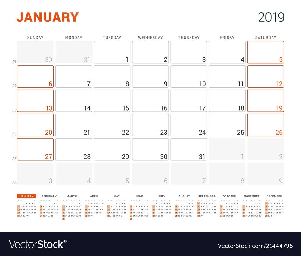 January 2019 Calendar Planner For 2019 Year Vector Image January 7 2019 Calendar