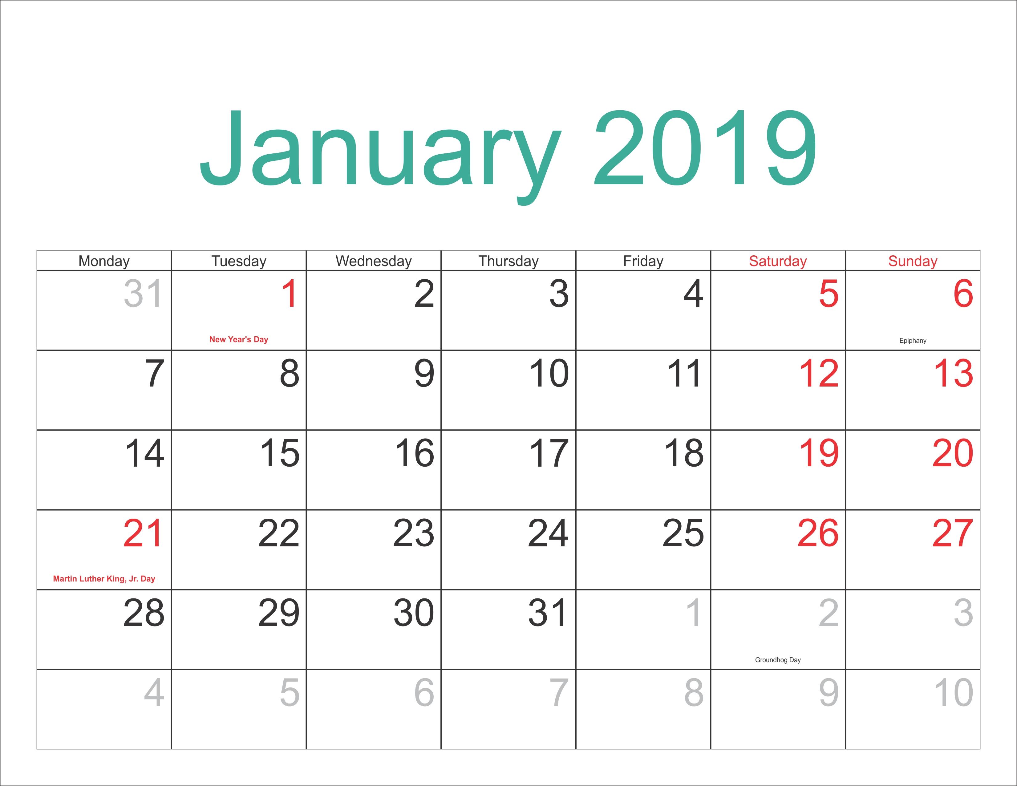 January 2019 Calendar Template With Holidays – Free Printable Calendar 2019 January With Holidays