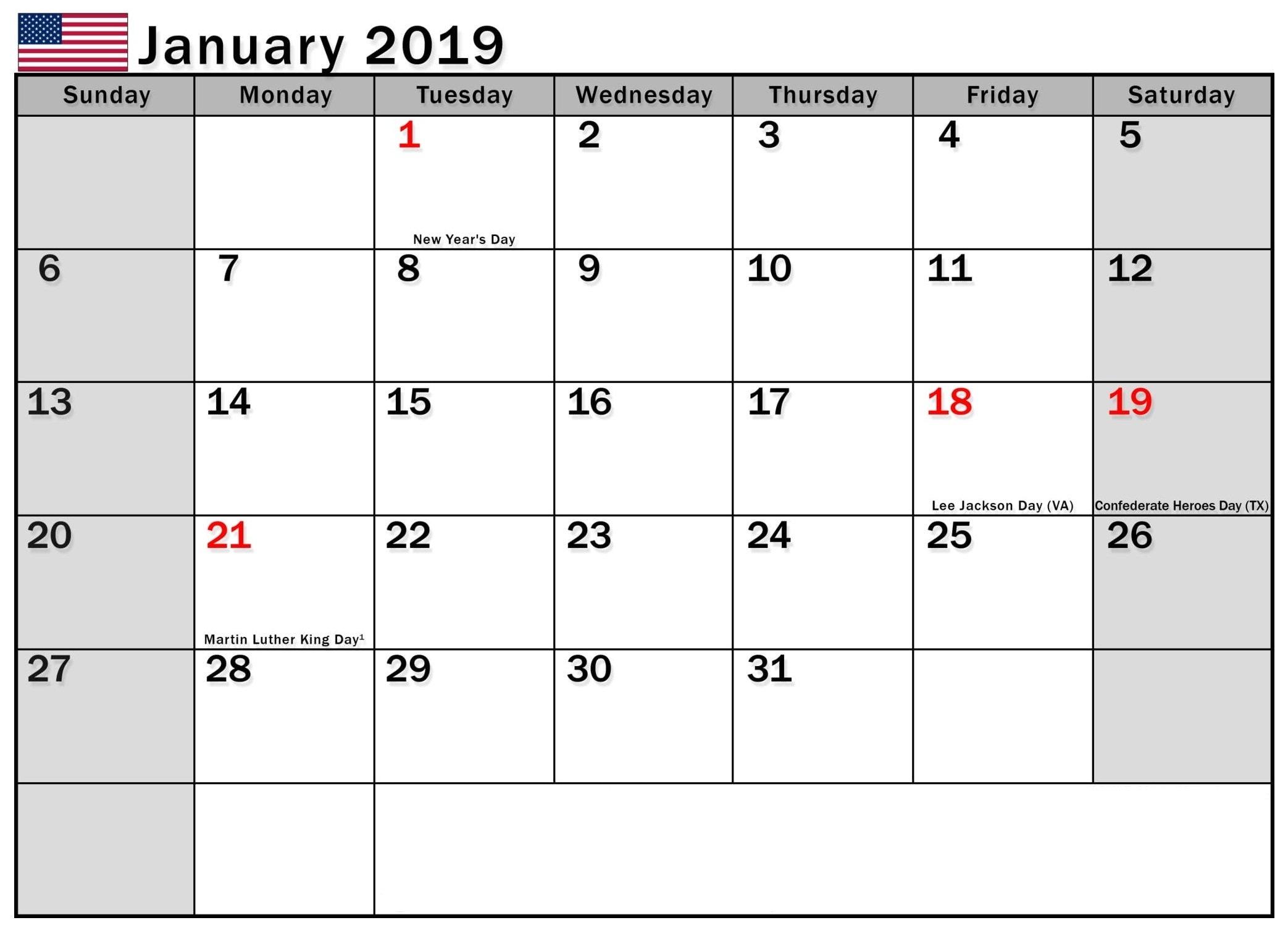 January 2019 Calendar Usa – Free Calendar Templates & Worksheets For Calendar 2019 Usa