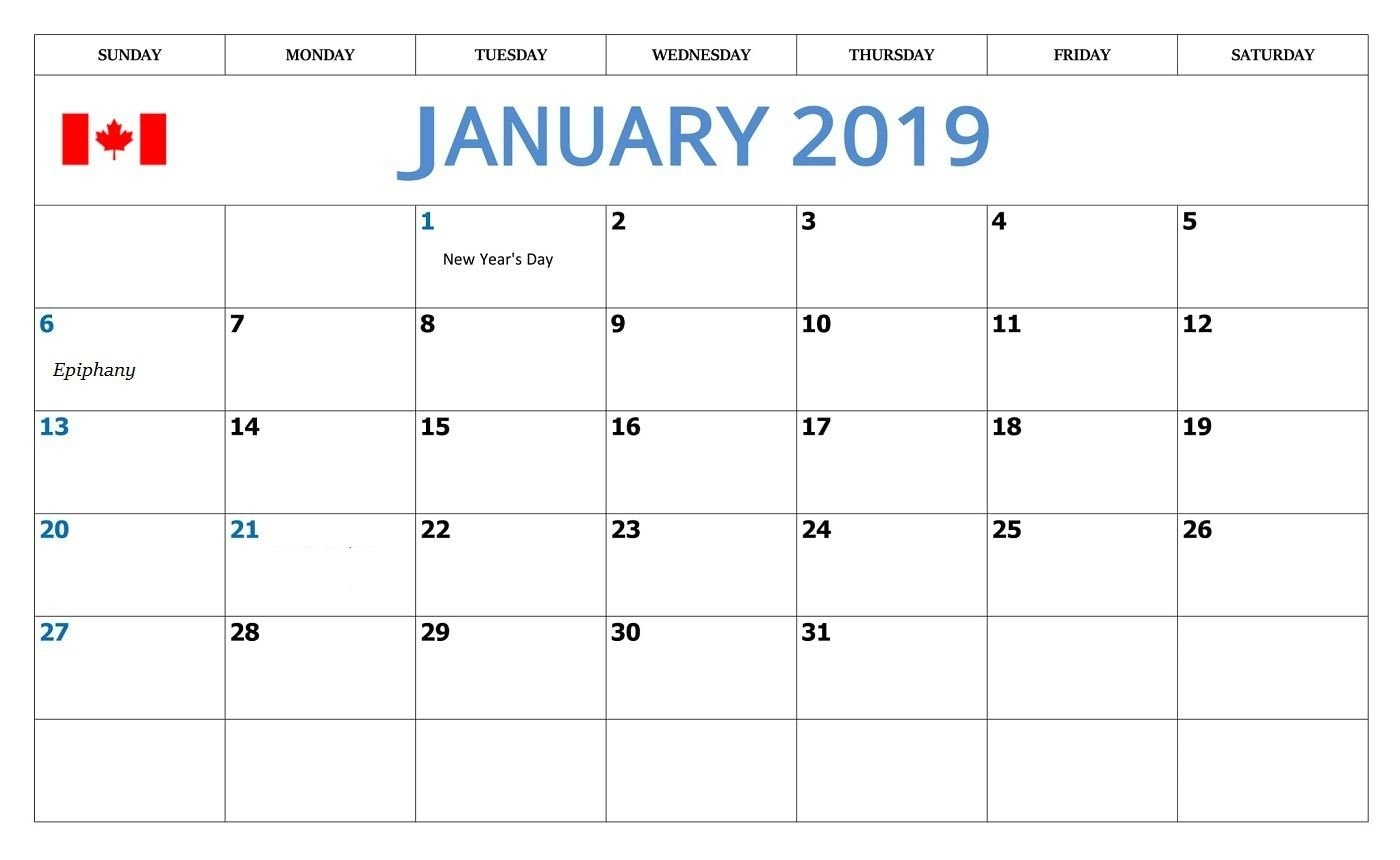 January 2019 Calendar With Canada Holidays   Monthly Calendar Calendar 2019 January With Holidays
