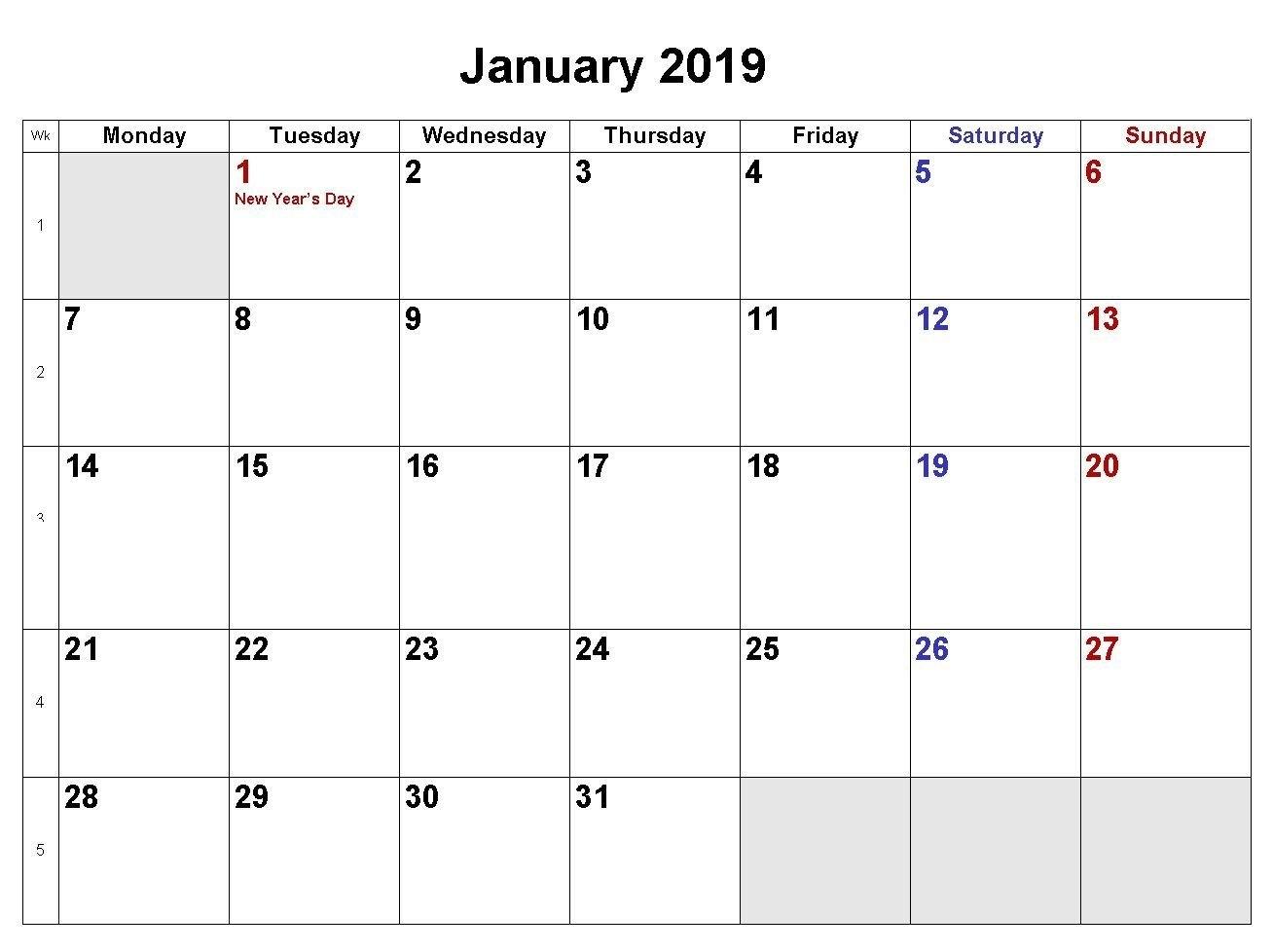 January 2019 Calendar Word Doc   Template Of January 2019 Blank Calendar 2019 Doc