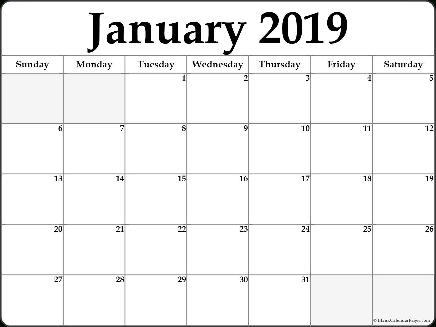 January 2019 Calendar Word January 8 2019 Calendar