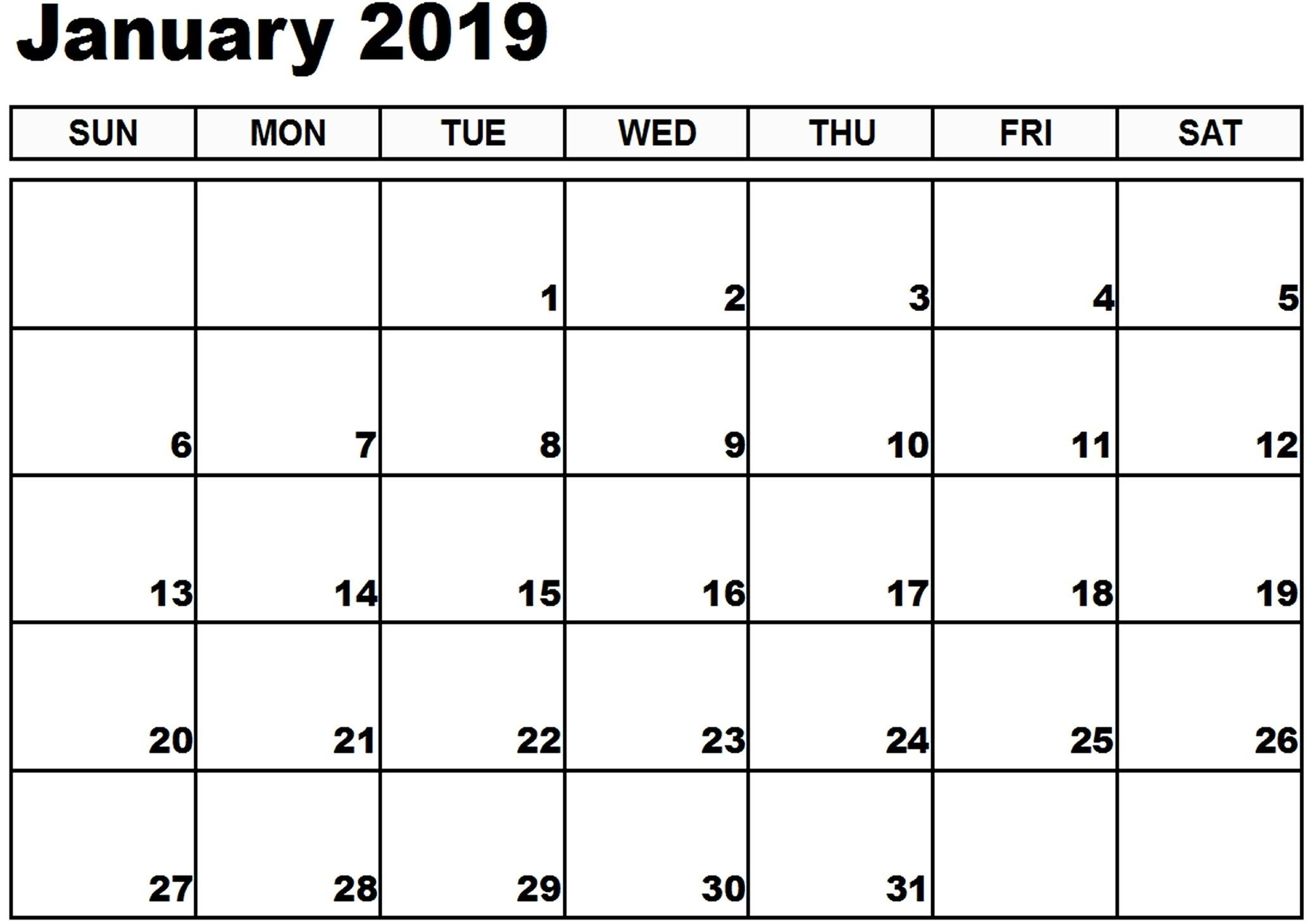 January 2019 Calendar Xls #printable #calendar #calendar2019 Calendar 2019 Xls