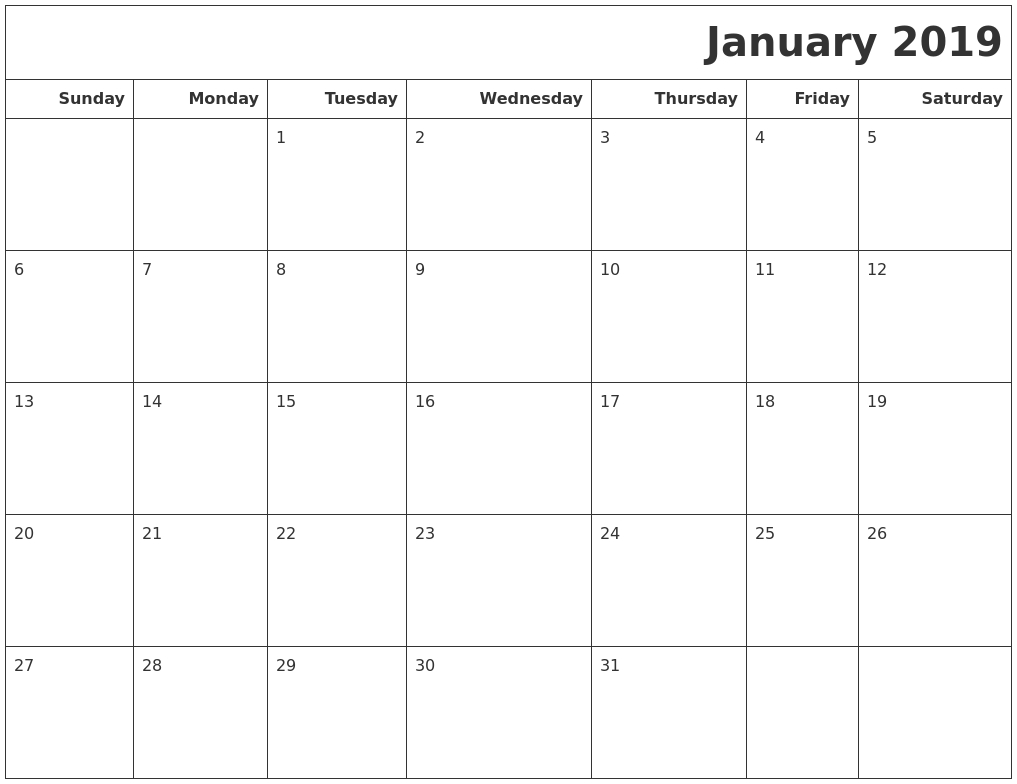 January 2019 Calendars To Print Calendar 2019 Days