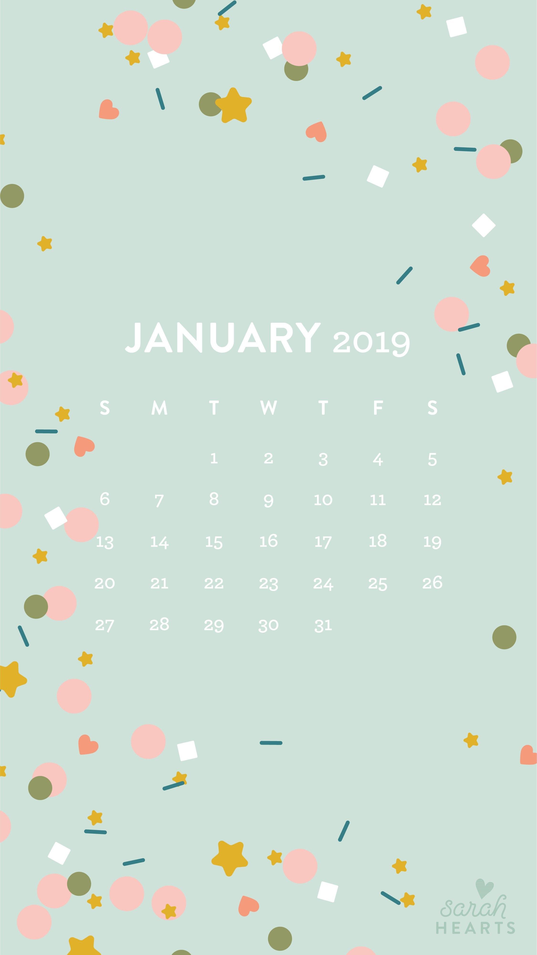 January 2019 Confetti Calendar Wallpaper – Sarah Hearts Calendar 2019 On My Iphone