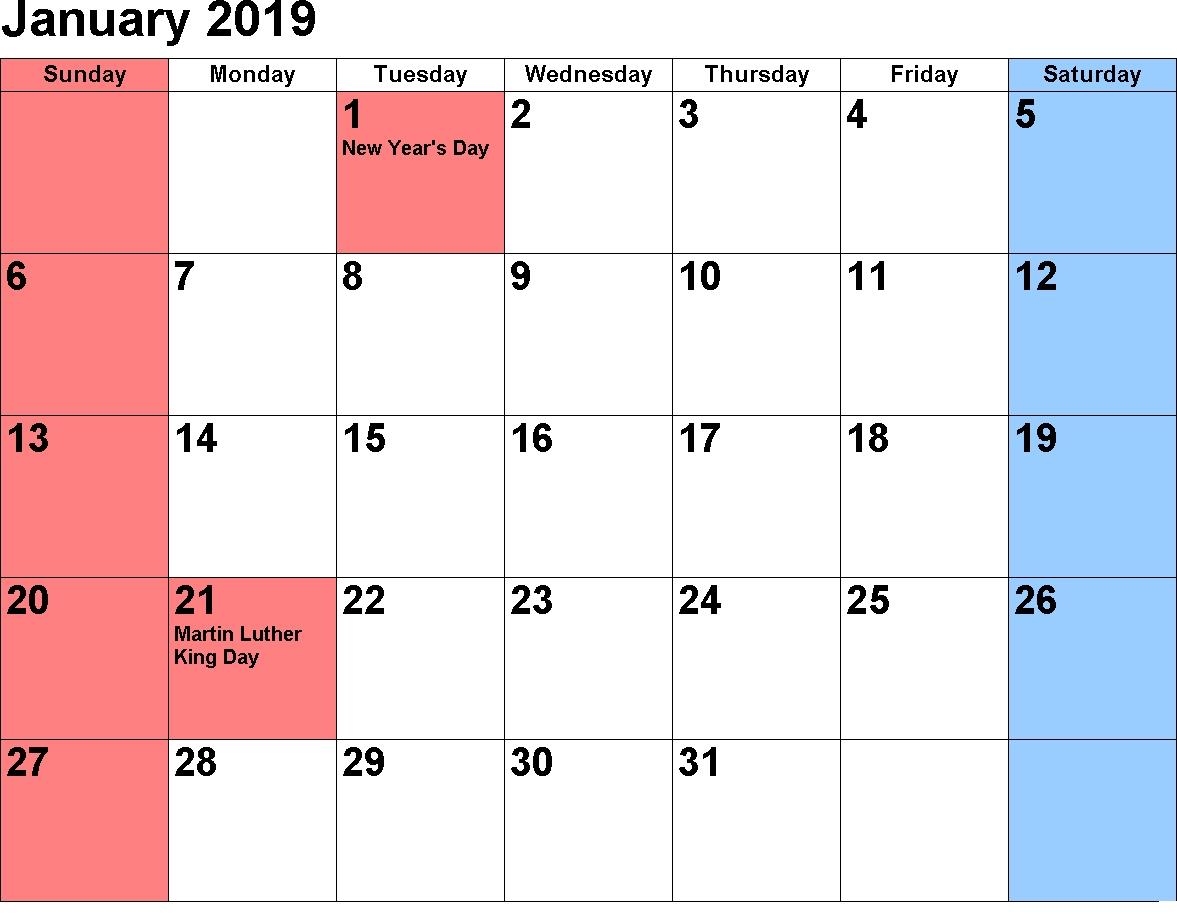 January 2019 Holiday Calendar – Free November 2018 Calendar Calendar 2019 January With Holidays
