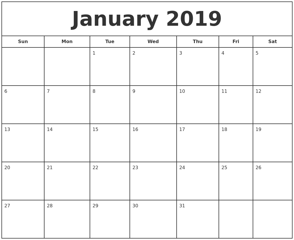 January 2019 Print Free Calendar Calendar 2019 Print Free