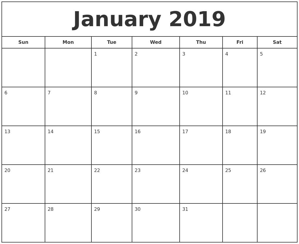 January 2019 Print Free Calendar Calendar 2019 Print