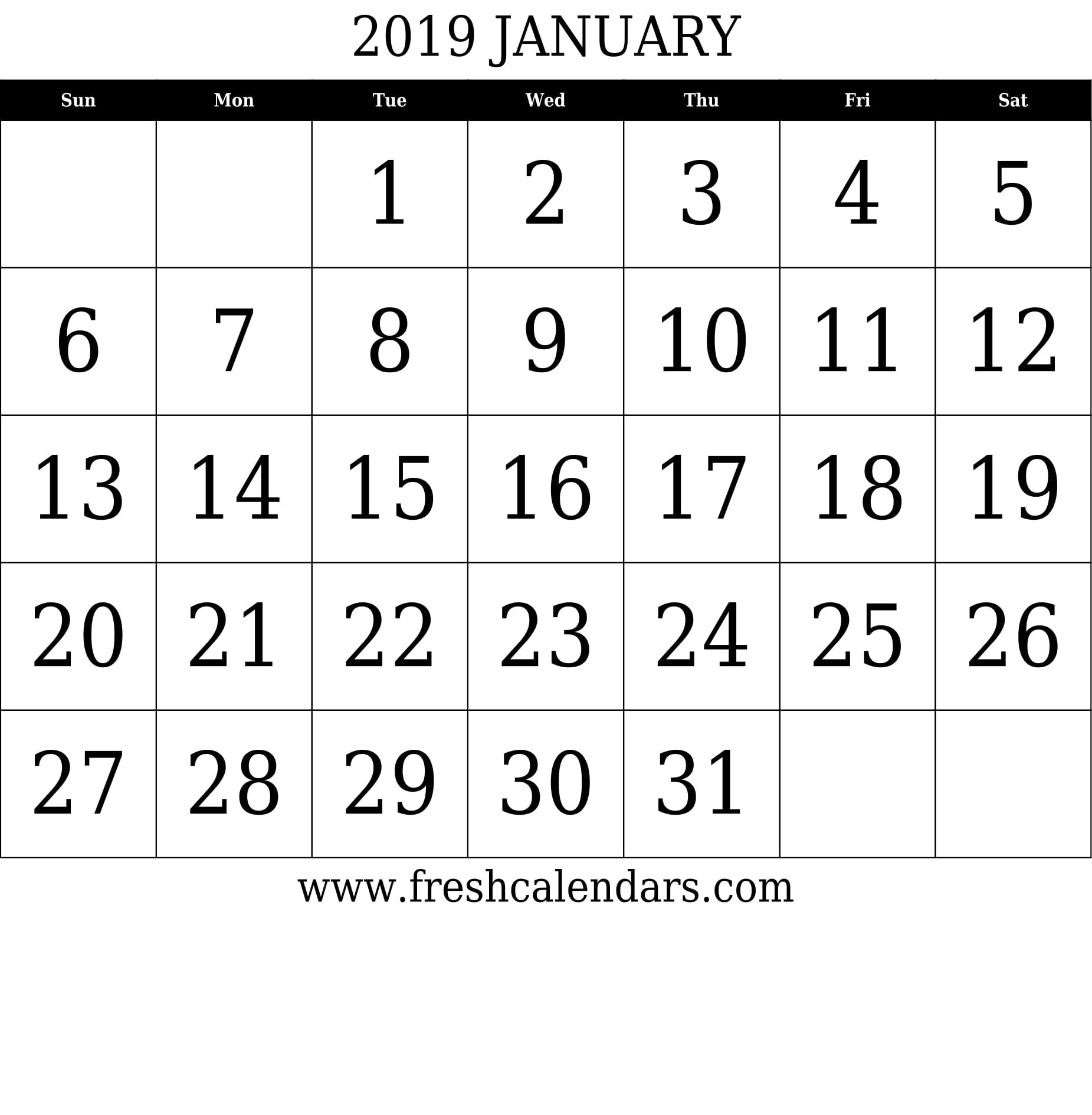 January 2019 Printable Calendars – Fresh Calendars January 7 2019 Calendar