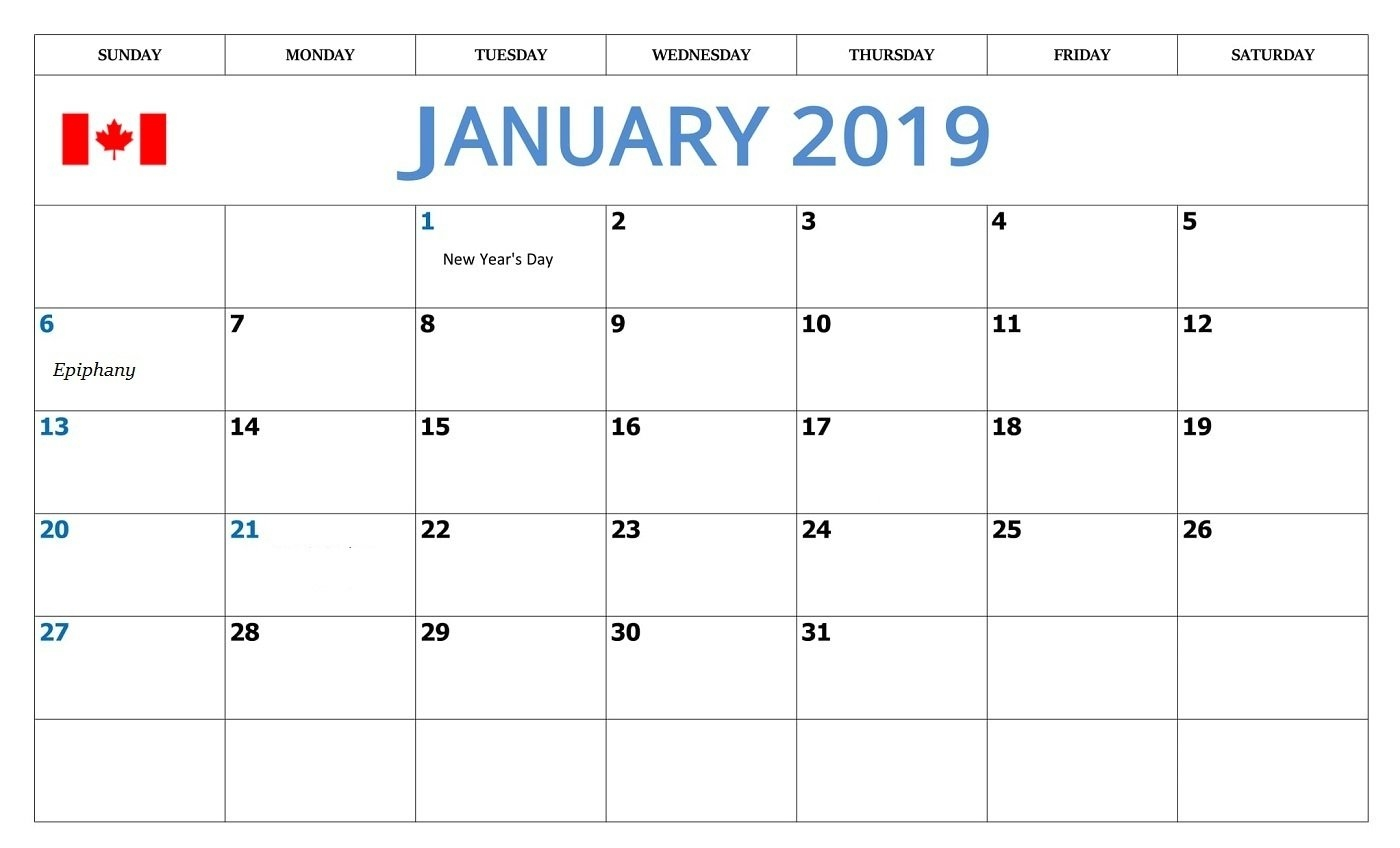 January Calendar 2019 Canada – Printable 2018 Calendars Templates Calendar Of 2019 Canada