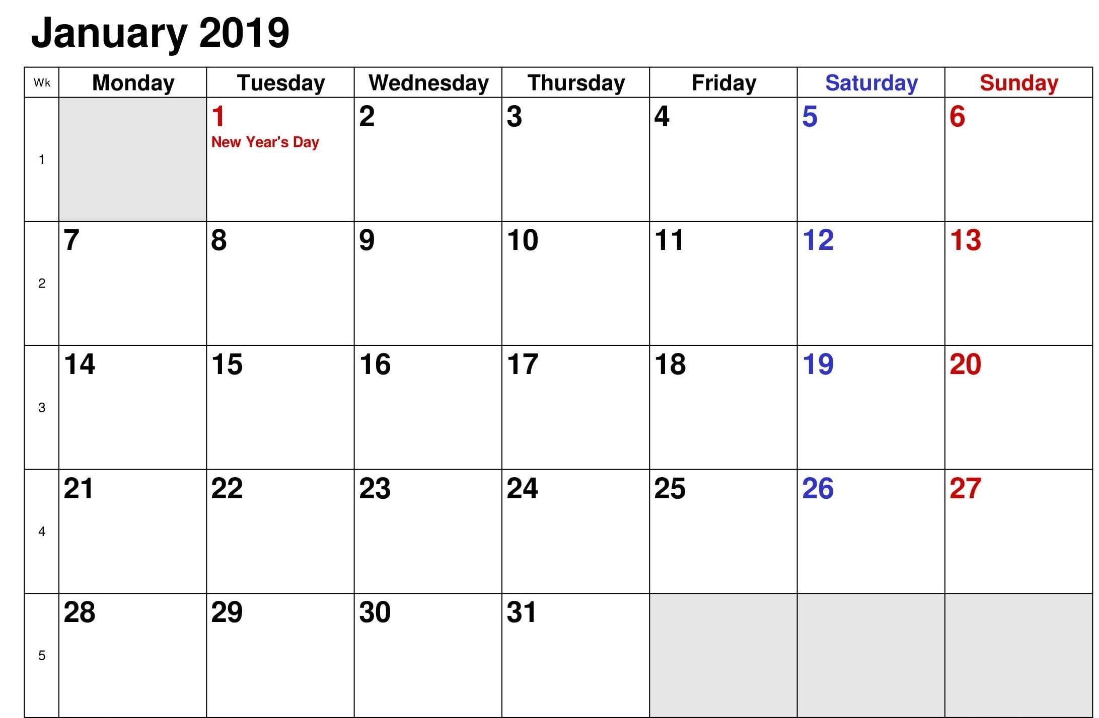 January Calendar 2019 Canada – Task Management Template Worksheet Calendar Of 2019 Canada