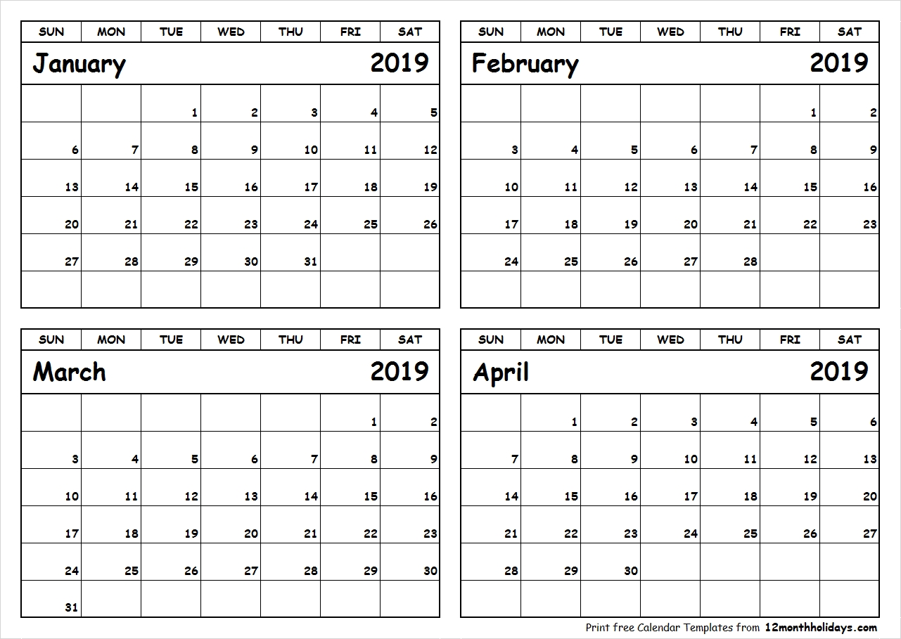 January February March April 2019 Calendar To Print – All 12 Month Calendar 2019 January To April