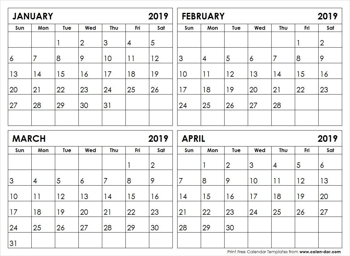 January February March April 4 Month 2019 Calendar | Printable Calendar April 4 2019 Calendar
