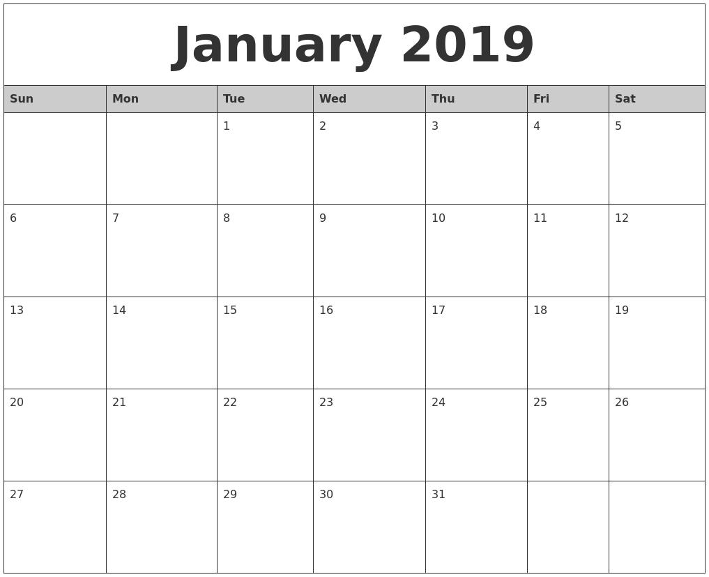 January Month Calendar 2019 Printable Template Calendar 2019 Printable Monthly