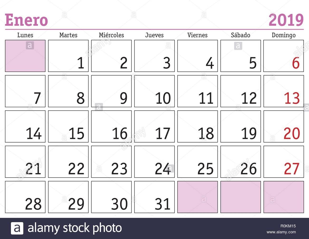 January Month In A Year 2019 Wall Calendar In Spanish. Enero 2019 Calendar 2019 Enero