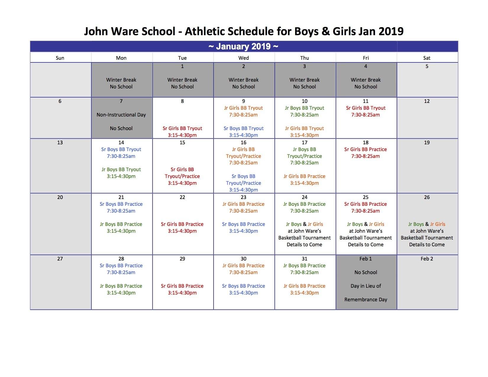 John Ware School Lester B Pearson Calendar 2019