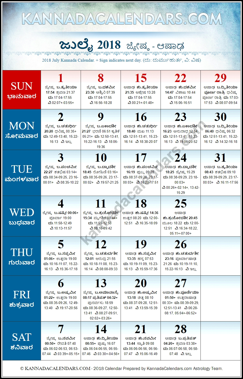 July 2018 Kannada Calendar   Vilambi Nama Samvatsara Panchanga Calendar 2019 Karnataka