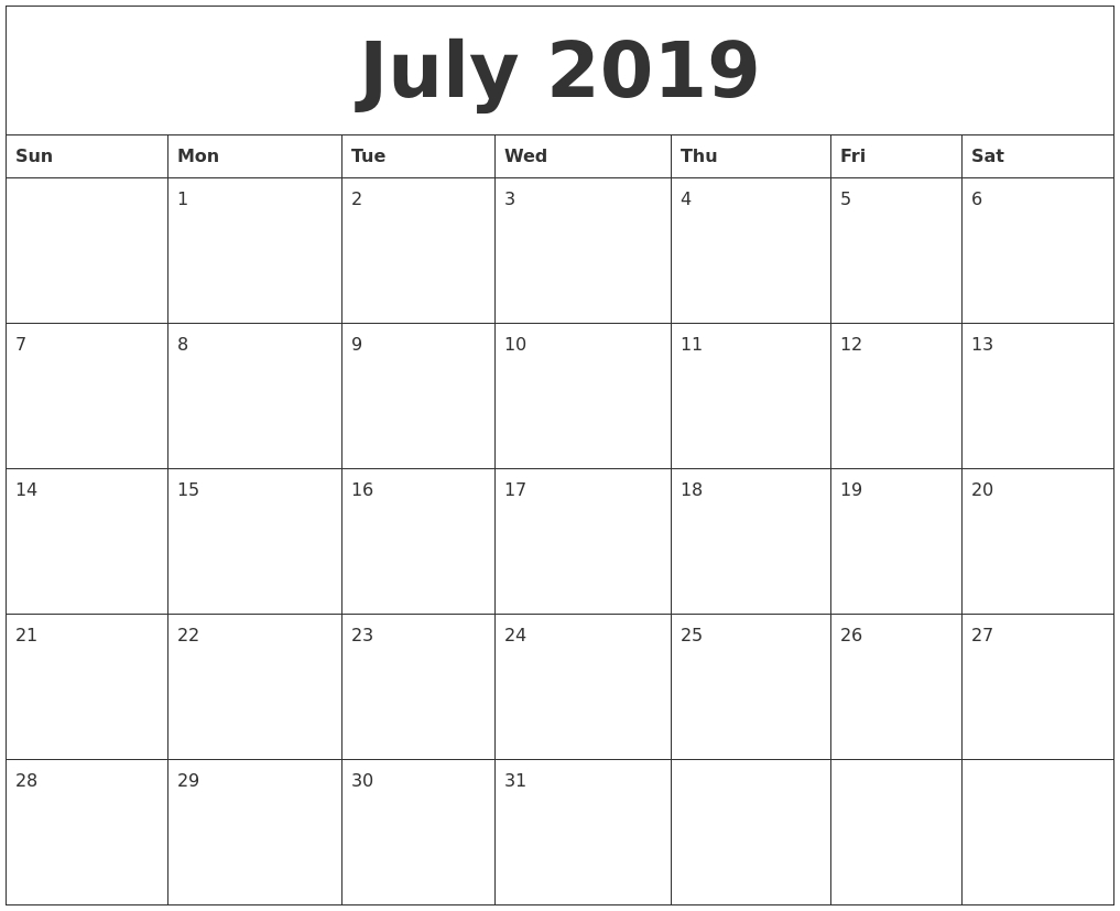 July 2019 Calendar Calendar 2019 Creator