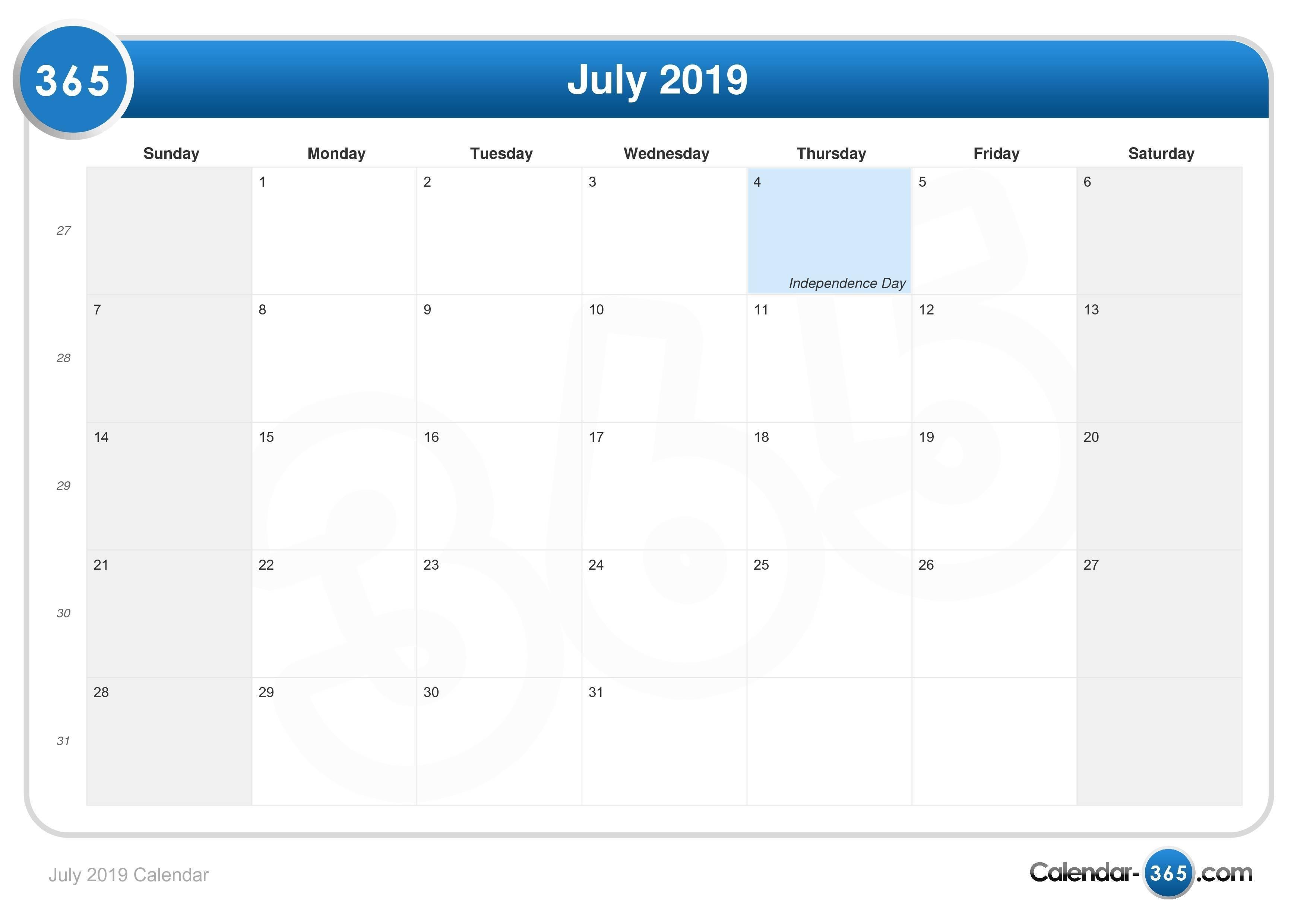July 2019 Calendar Calendar Of 2019 July