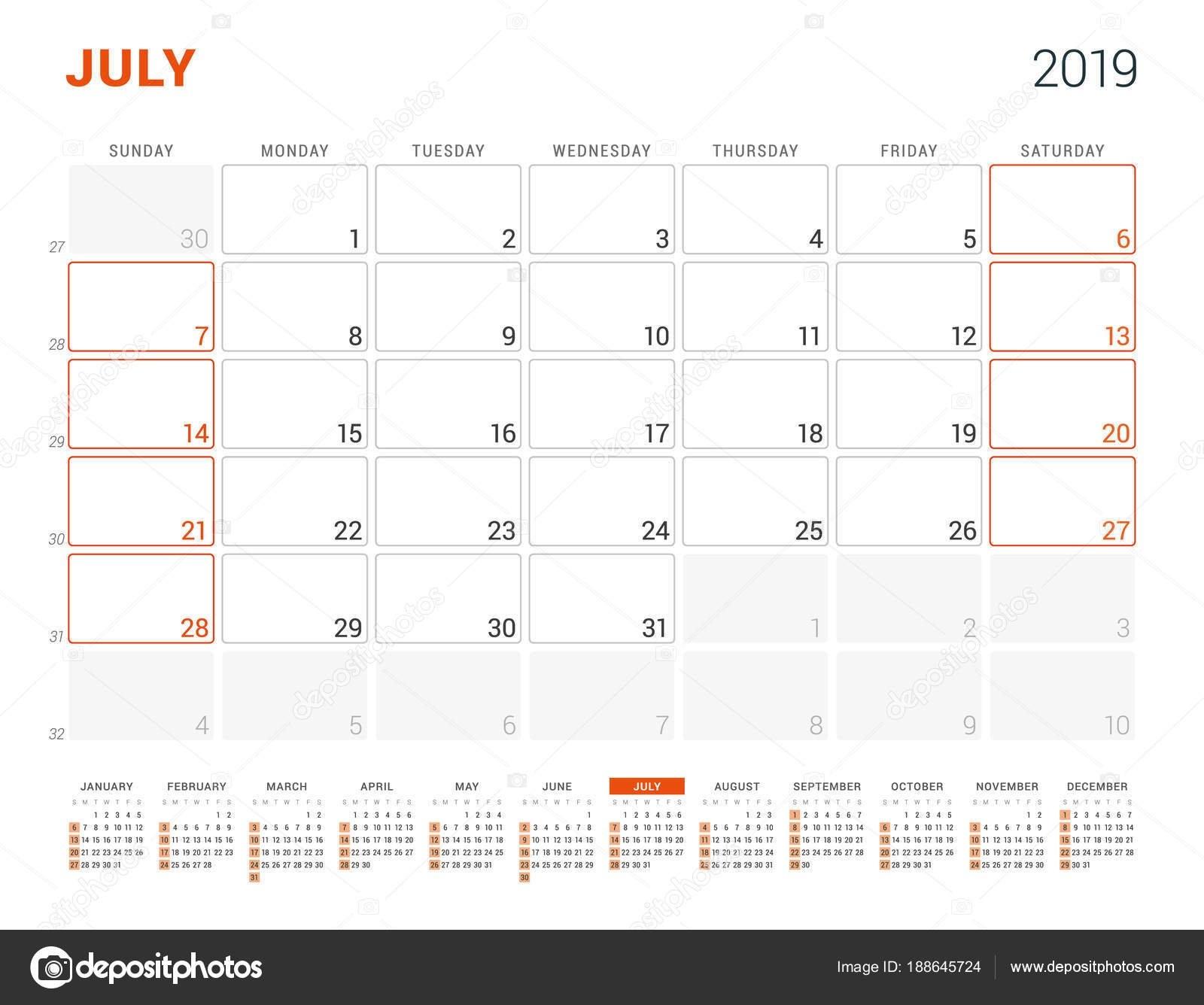 July 2019. Calendar Planner For 2019 Year. Vector Design Print July 7 2019 Calendar