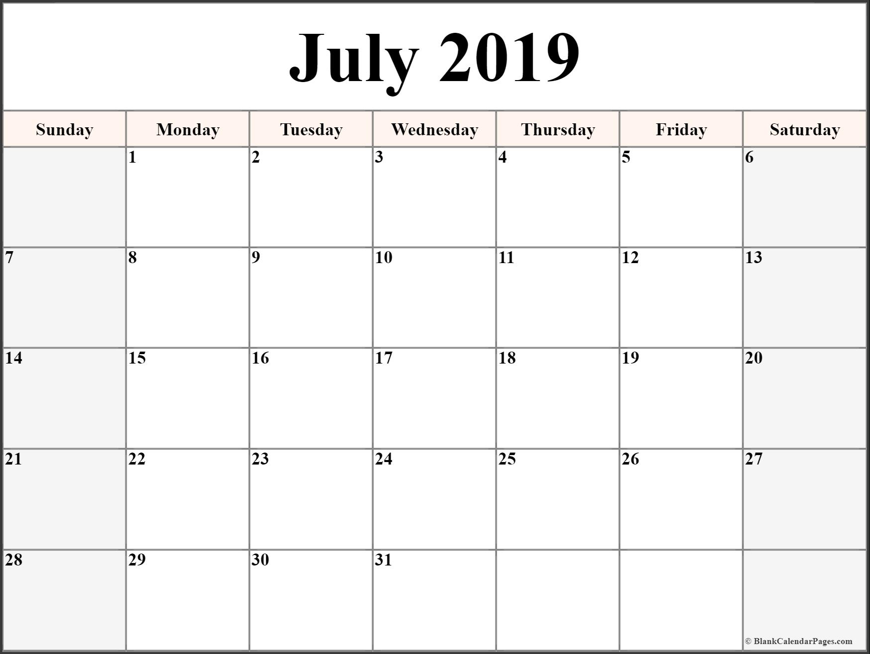 July 2019 Calendar Printable Templates   Site Provides Calendar Calendar Of 2019 July