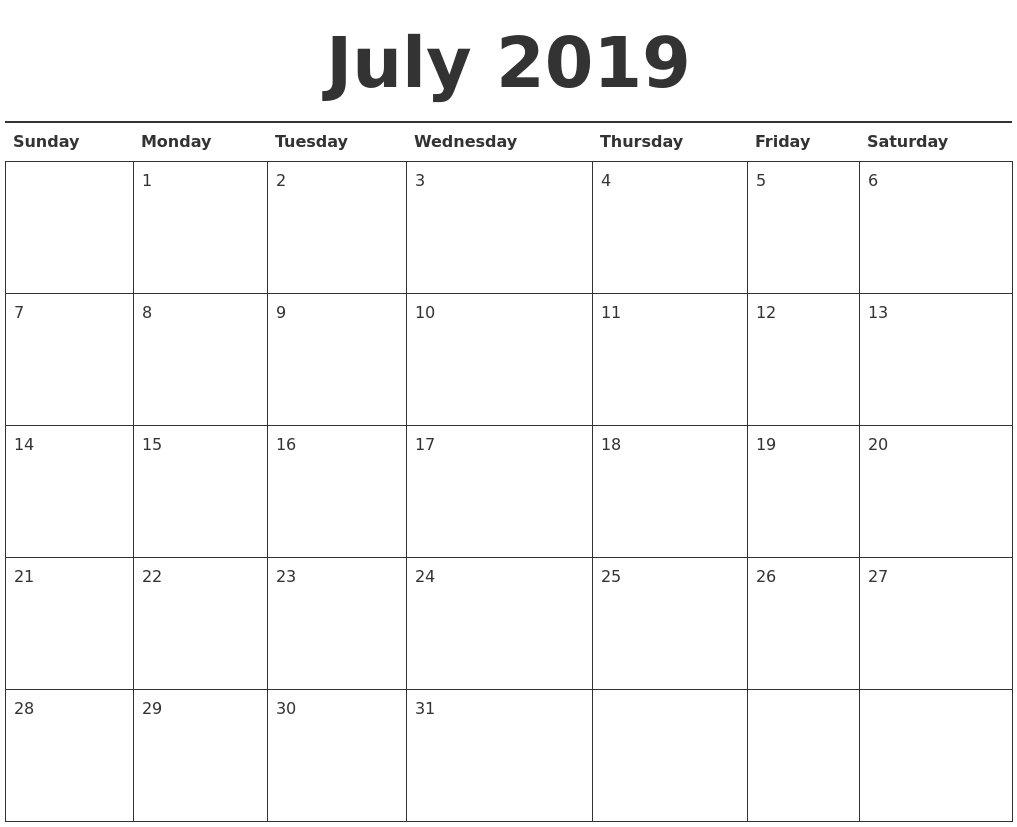 July 2019 Printable Calendar | Year Printable Calendar W&m Calendar 2019