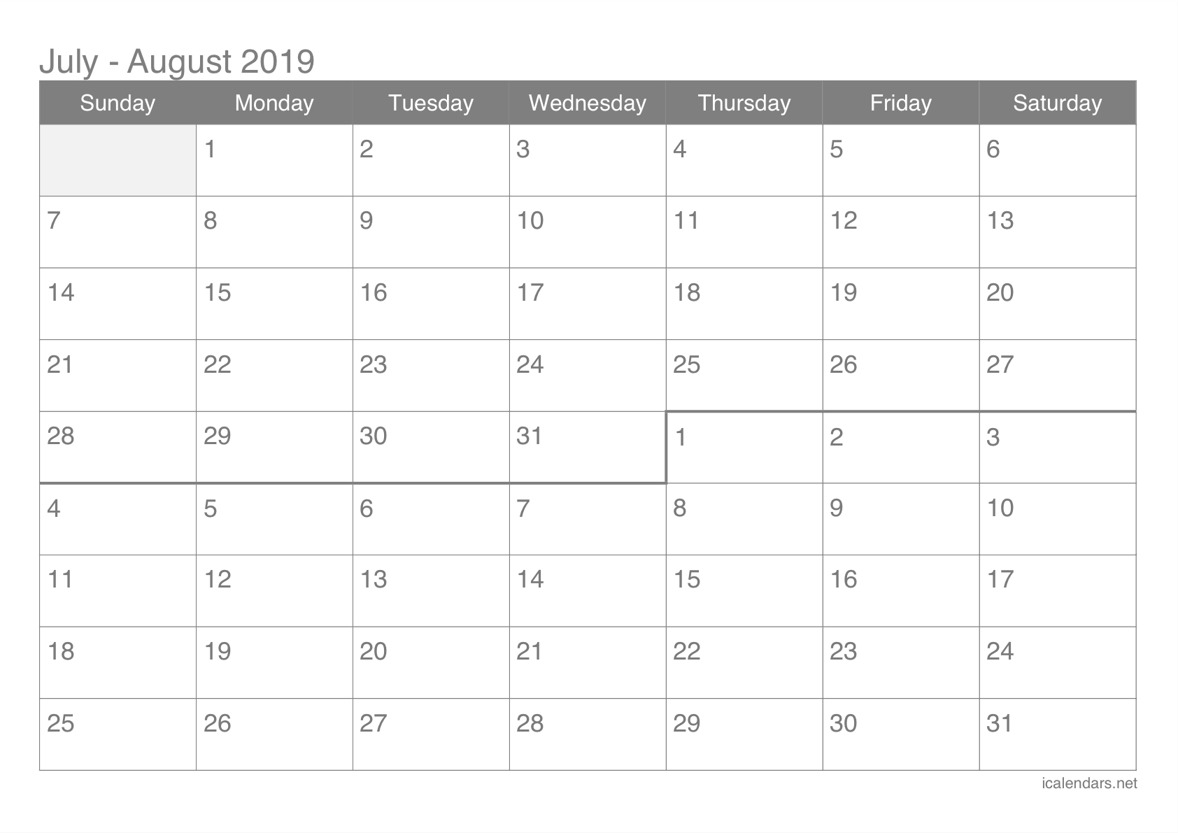 July And August 2019 Printable Calendar – Icalendars Calendar Of 2019 July