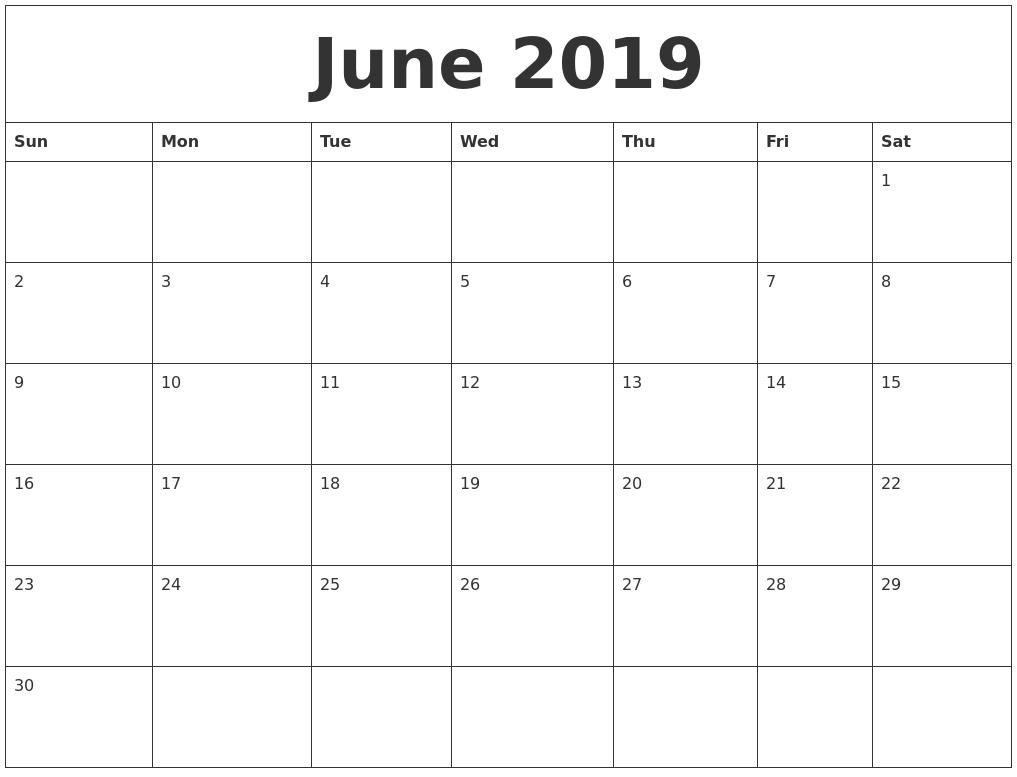 June 2019 Calendar Pages 2019 Calendar 12 Pages