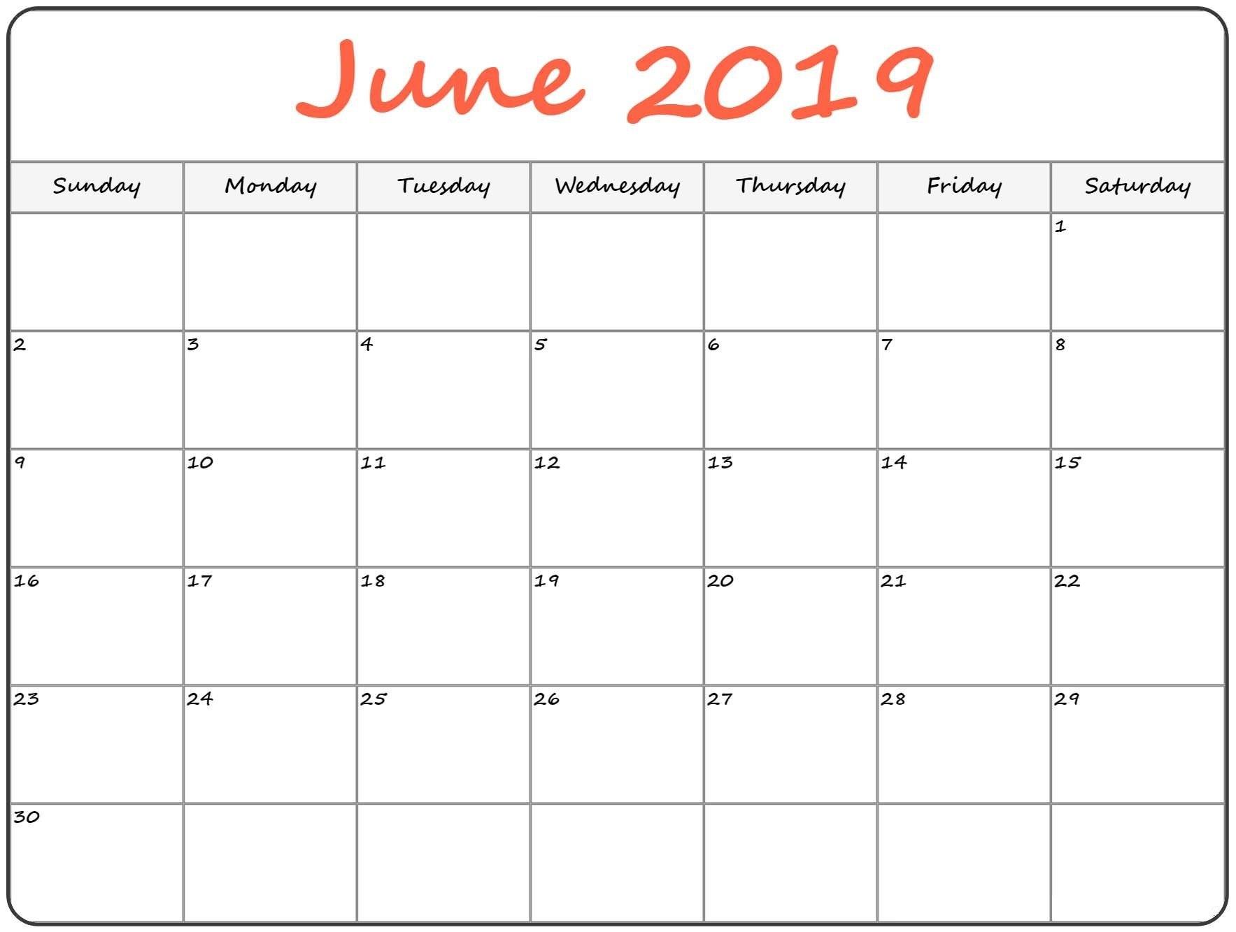 June 2019 Holiday Blank Calendar Download – Printable Calendar 2018 Calendar 2019 Monthly Printable With Holidays