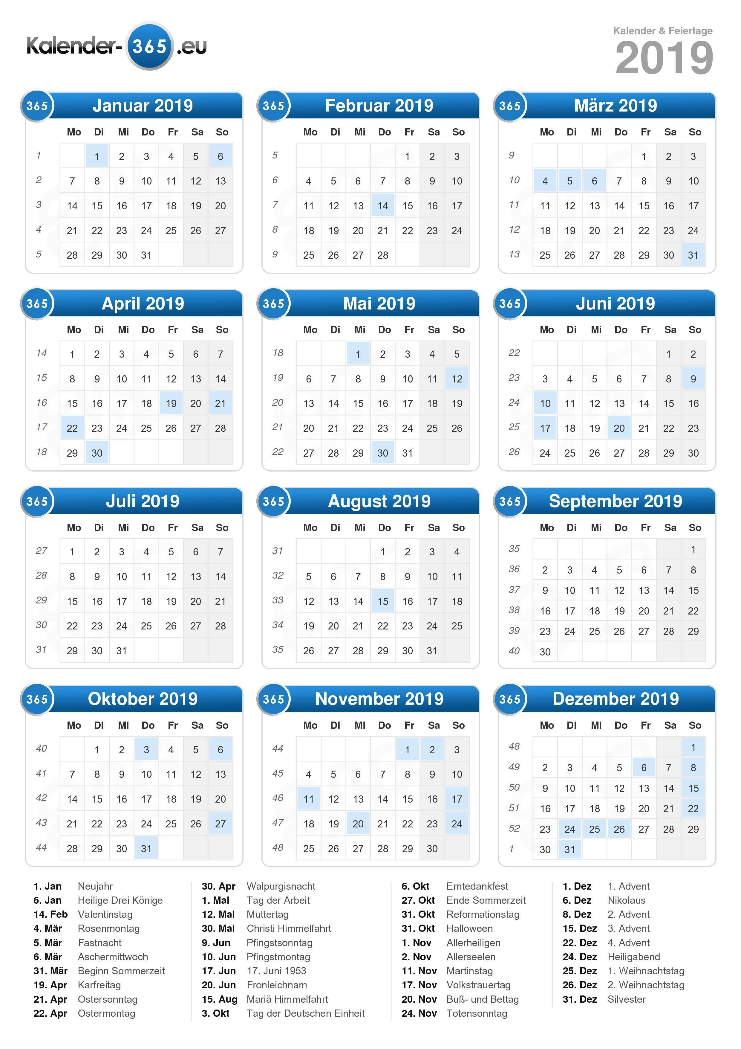 Kalender 2019 Calendar 2019 Neu