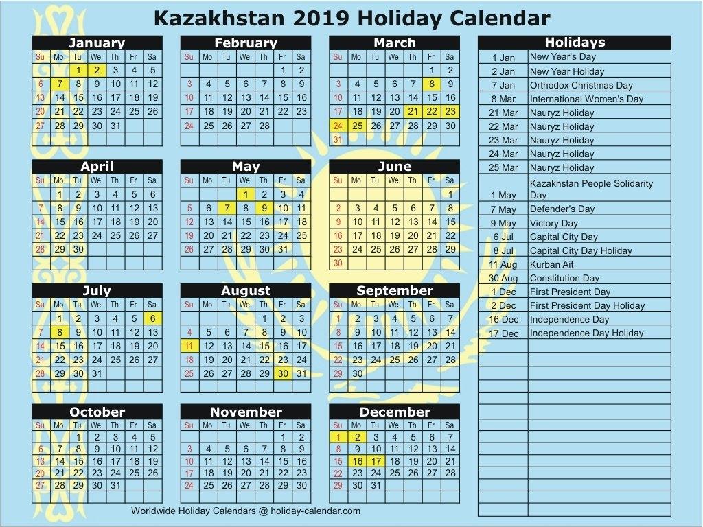 Kazakhstan 2019 / 2020 Holiday Calendar Calendar 2019 Kazakhstan