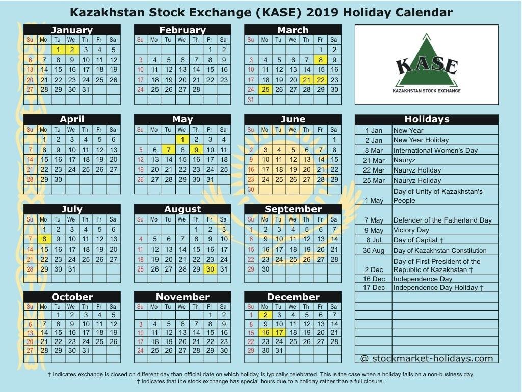 Kazakhstan Stock Exchange 2019 / 2020 Holidays : Kase Holidays 2019 Calendar 2019 Kazakhstan