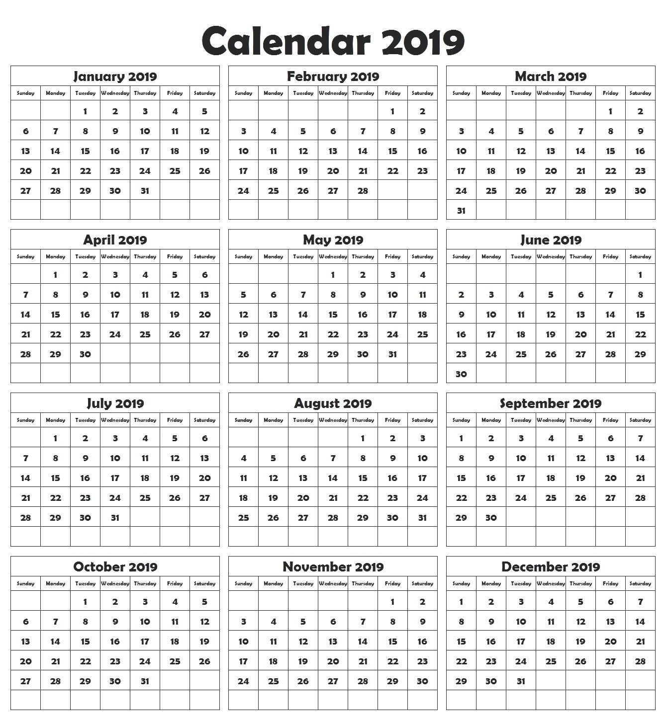 Large Printable Yearly Calendar 2019 – Free Calendar Templates Calendar 2019 Large Print