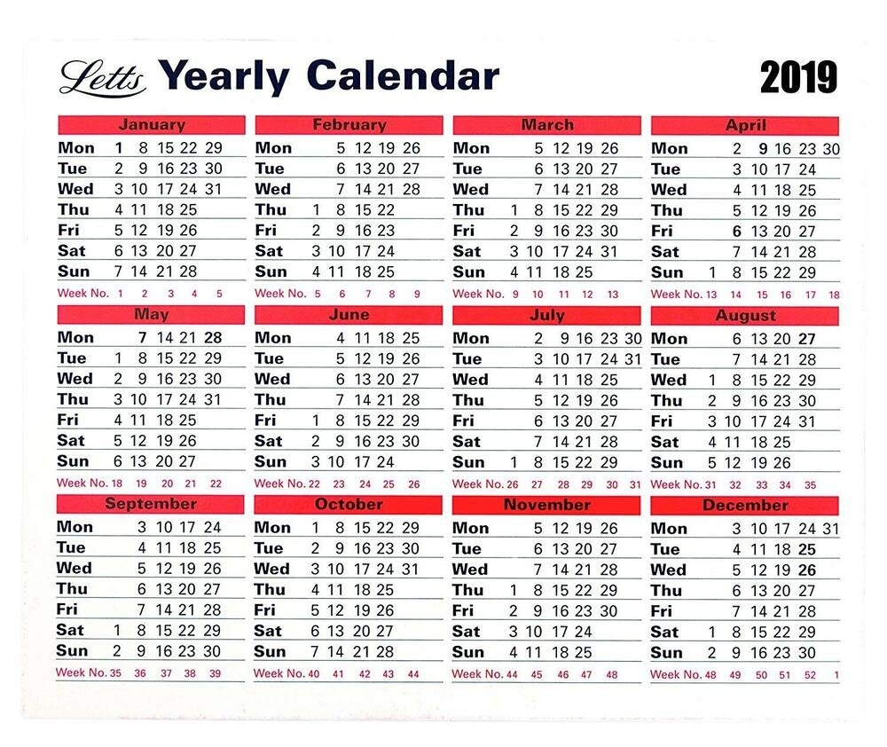 Letts 2019 Monthly Hardback Yearly Desk Calendar Planner Stand Up Letts Yearly Calendar 2019 5 Tyc