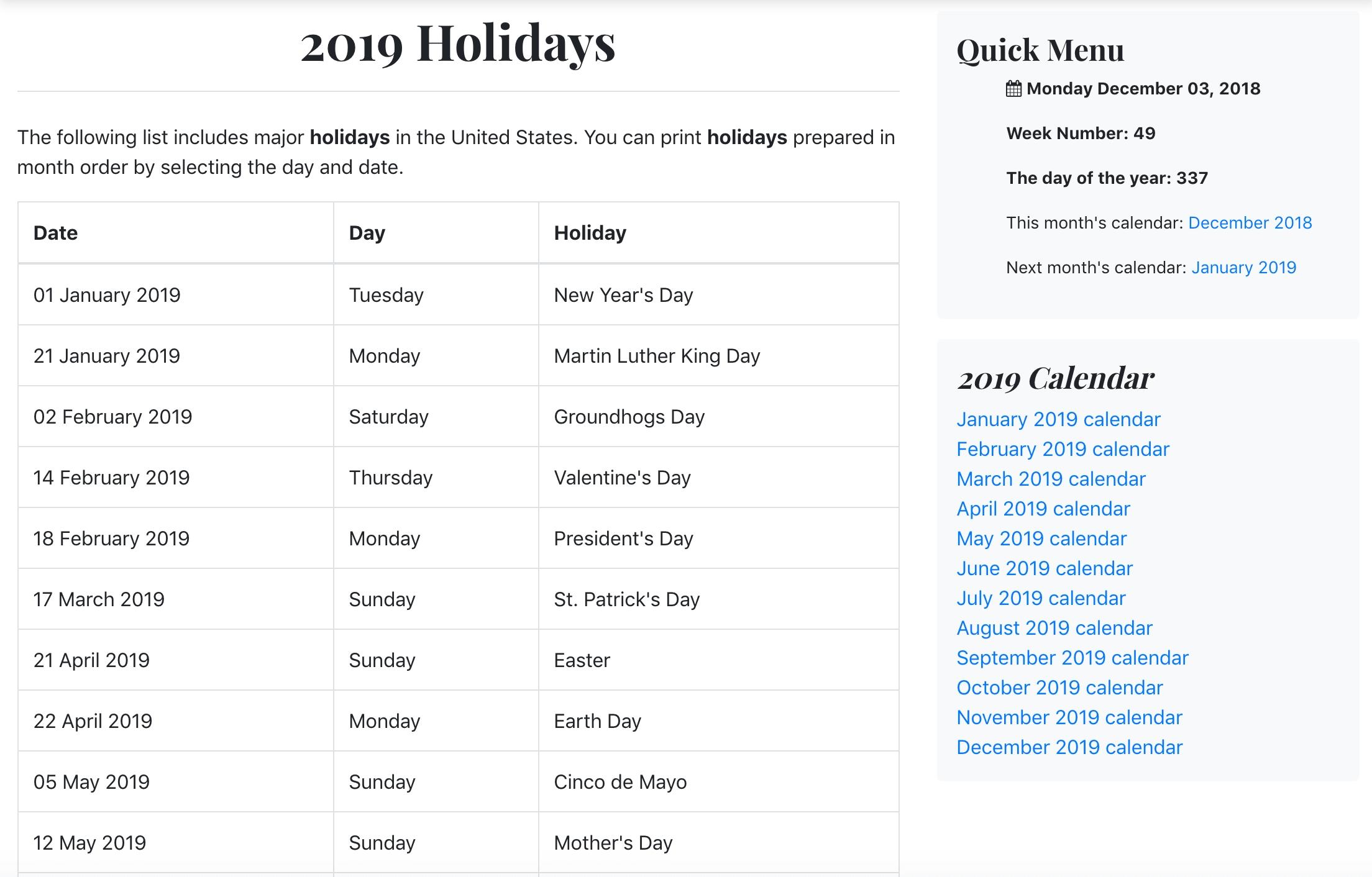 List Of 2019 Holidays – Luxe Calendar Calendar 02/2019