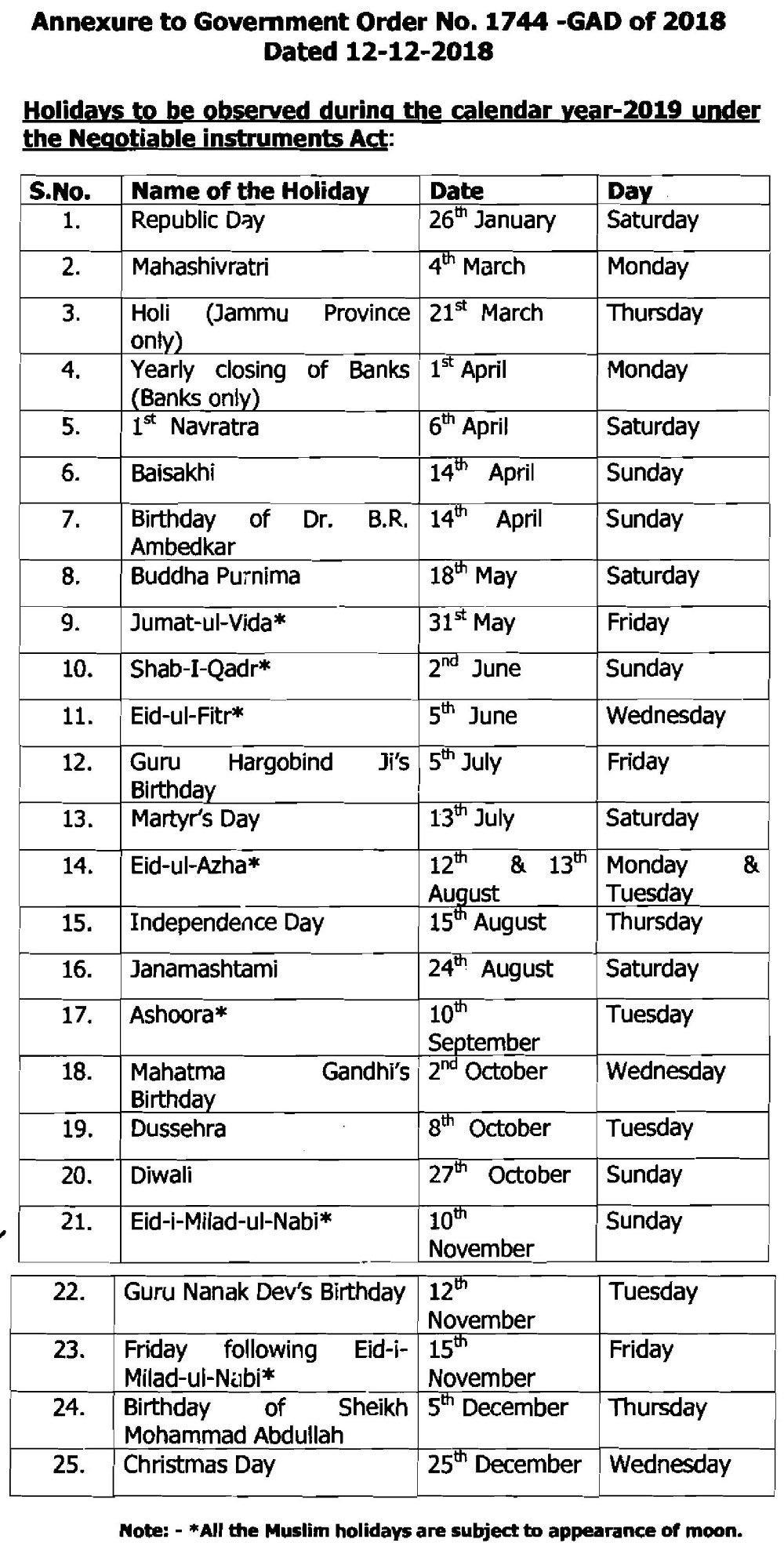 List Of Holidays In J&k For Calendar Year 2019   News & Updates J&k Calendar 2019