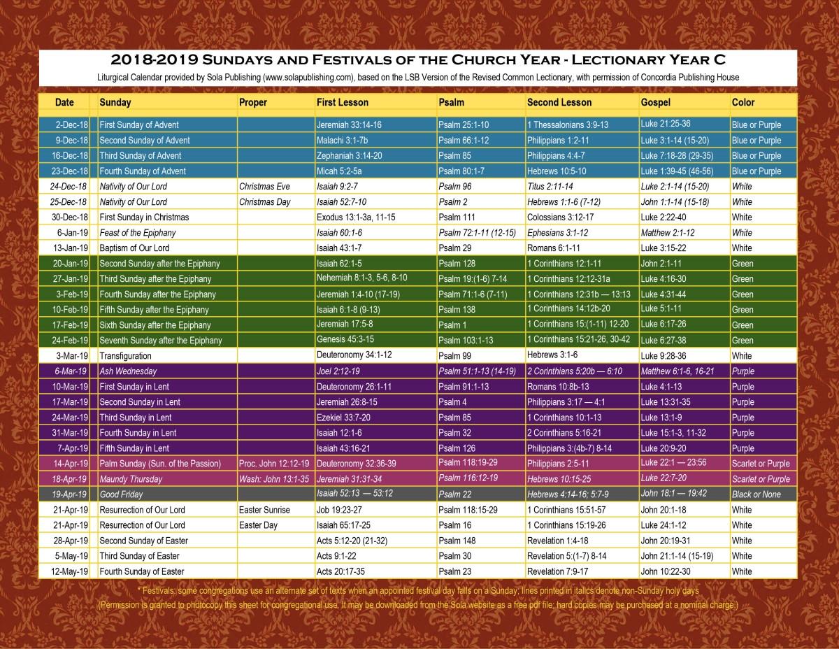 Liturgical Calendar 2019   Moneksy C&k Calendar 2019