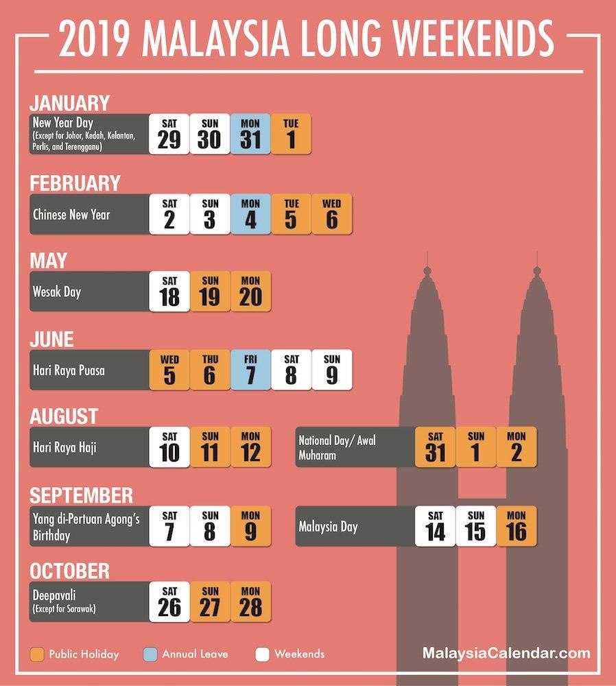 Long Weekend 2019 – Malaysia Calendar Calendar 2019 Long Weekend